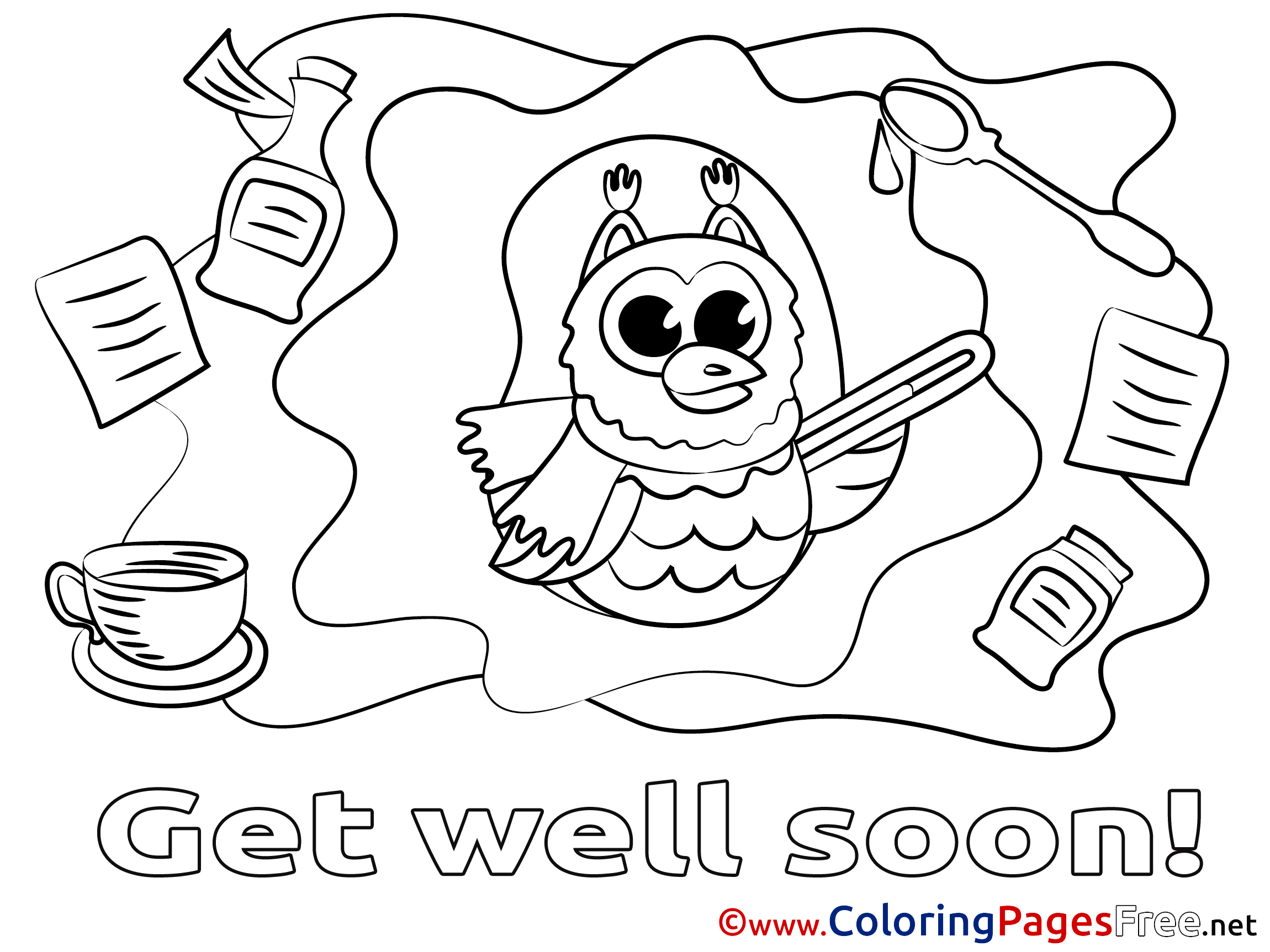 - Owl Get Well Soon Coloring Sheets