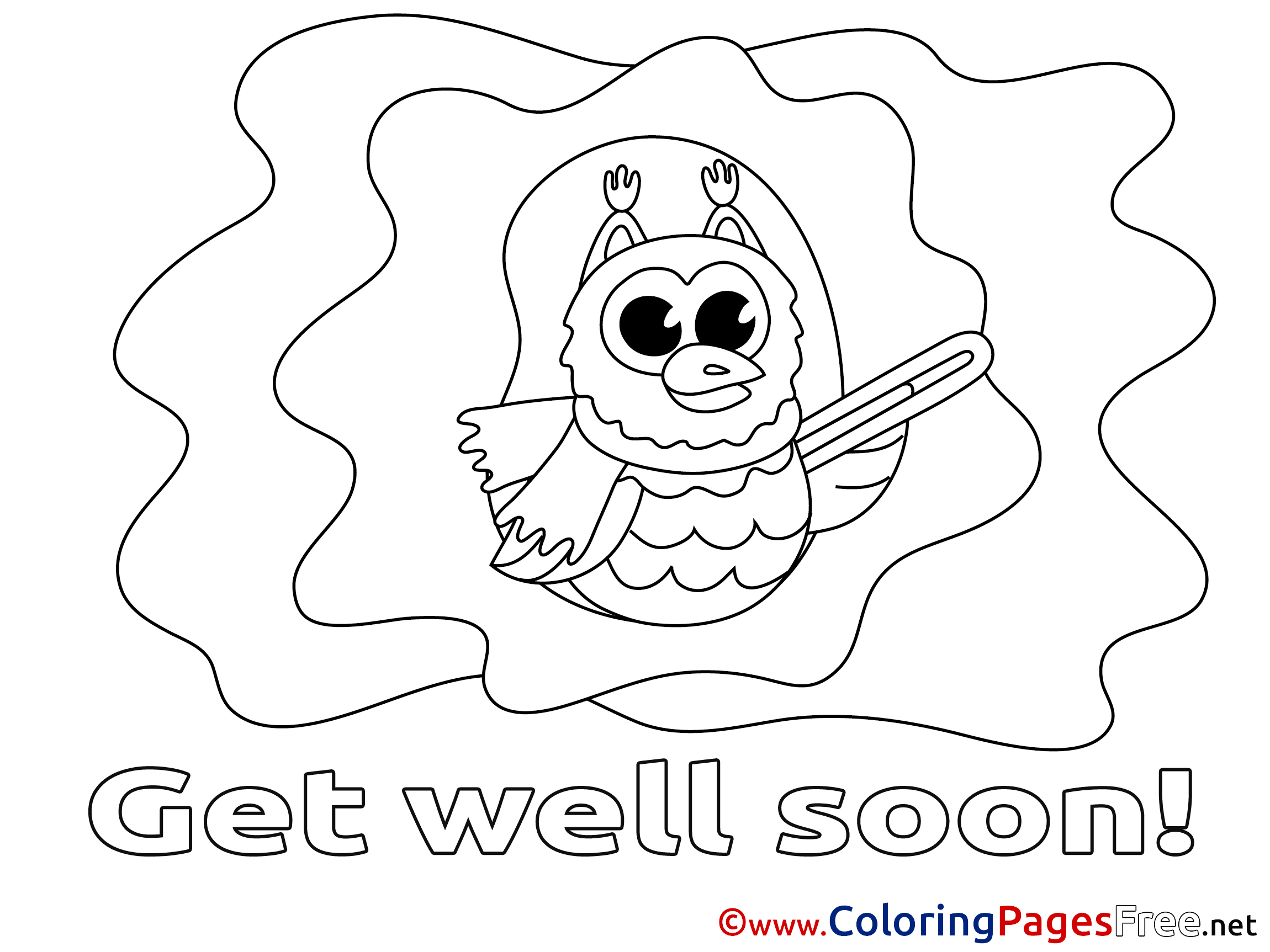 - Owl Printable Coloring Pages Get Well Soon