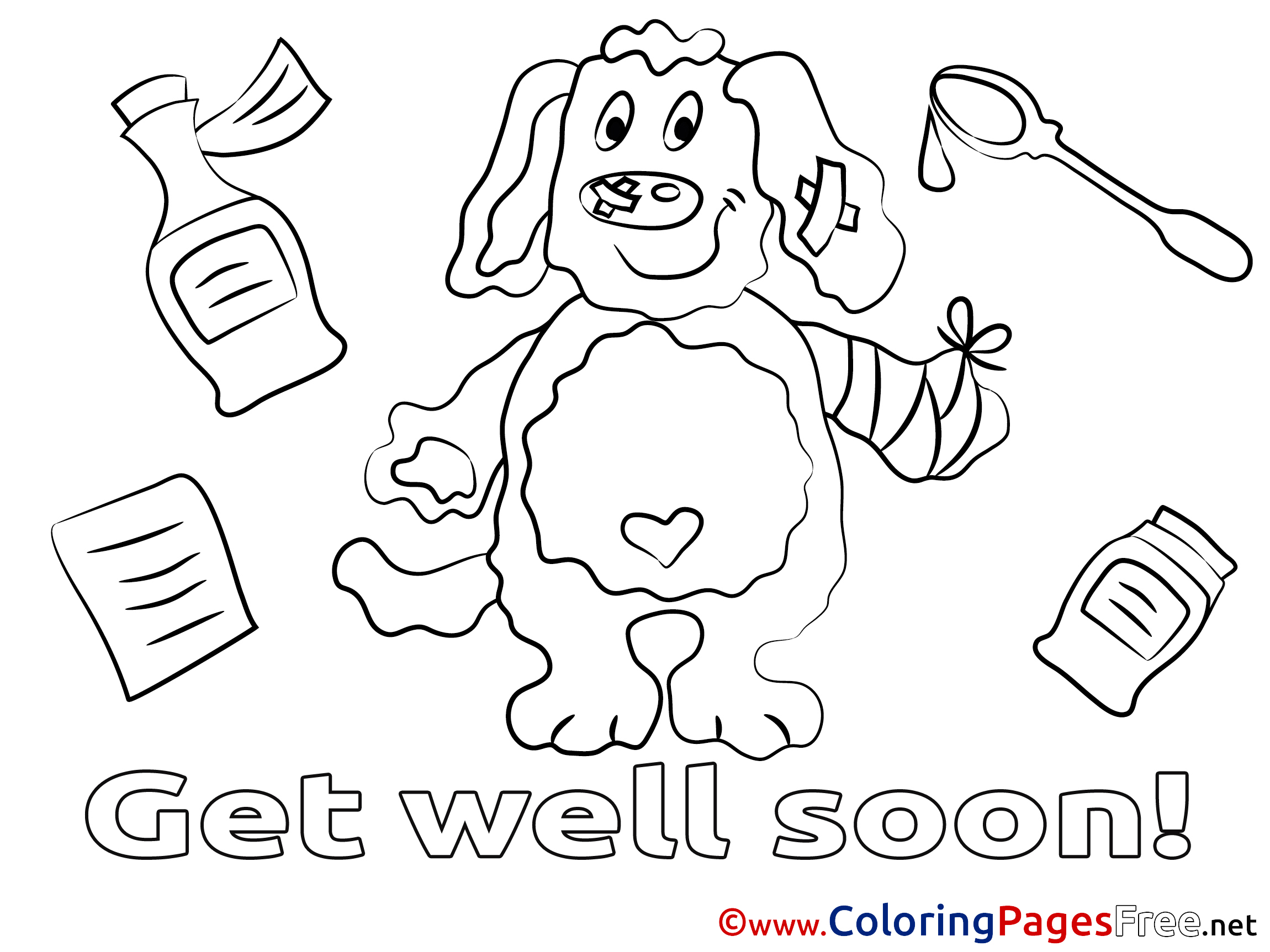 Puppy coloring sheets get well soon free for Get well soon card coloring pages