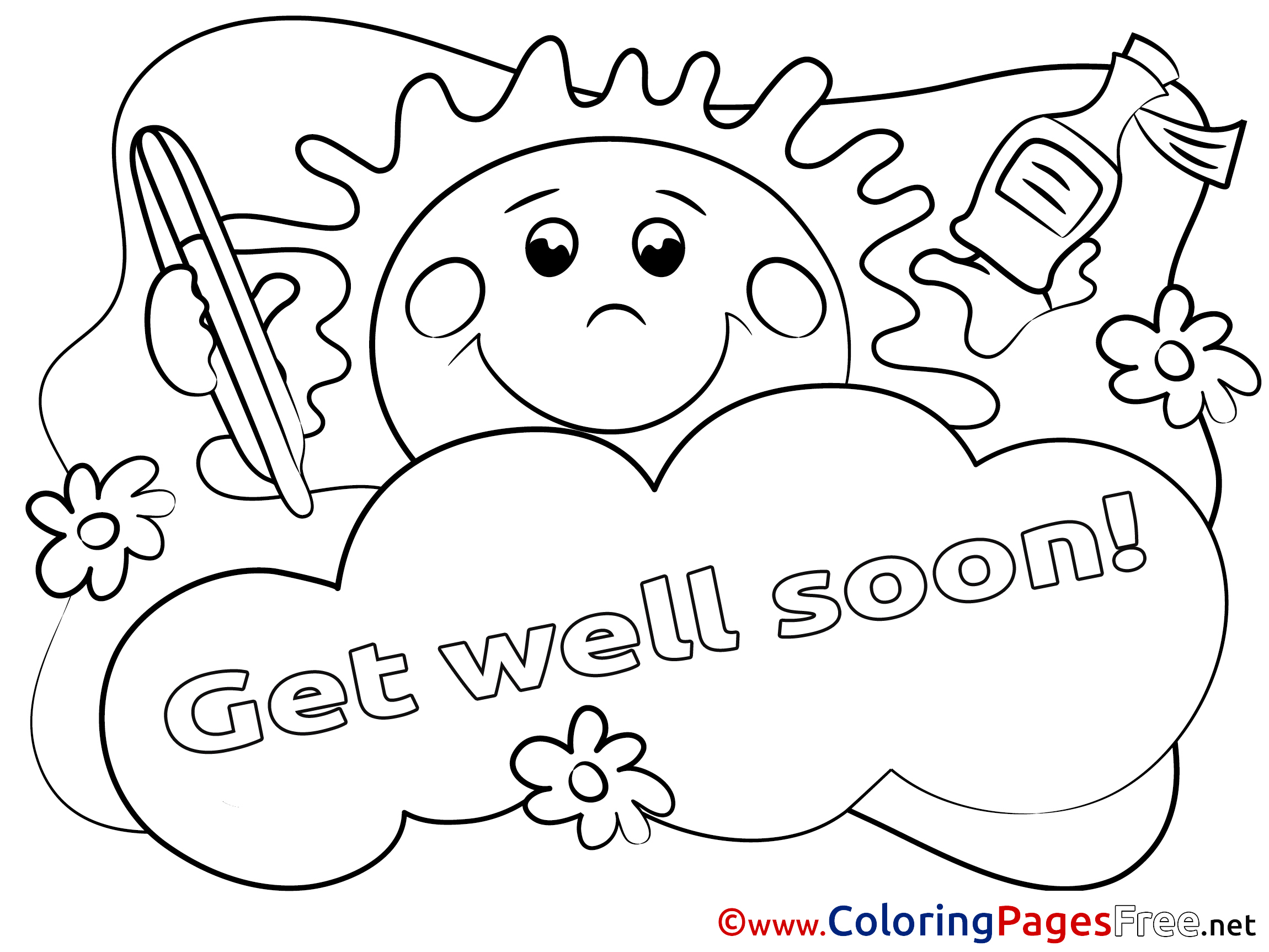 Sun for kids get well soon colouring page for Get well soon card coloring pages