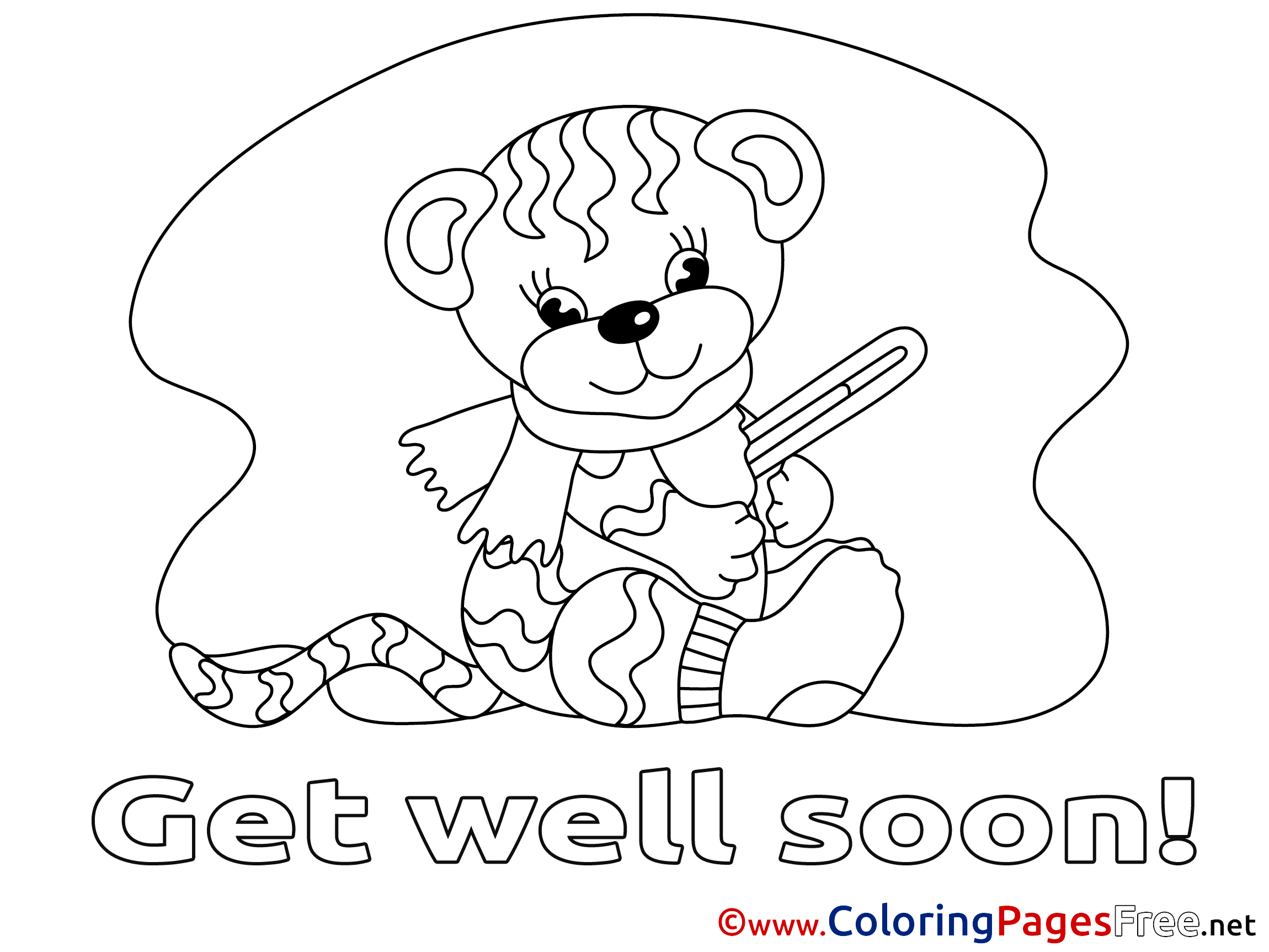 - Tiger Printable Coloring Pages Get Well Soon