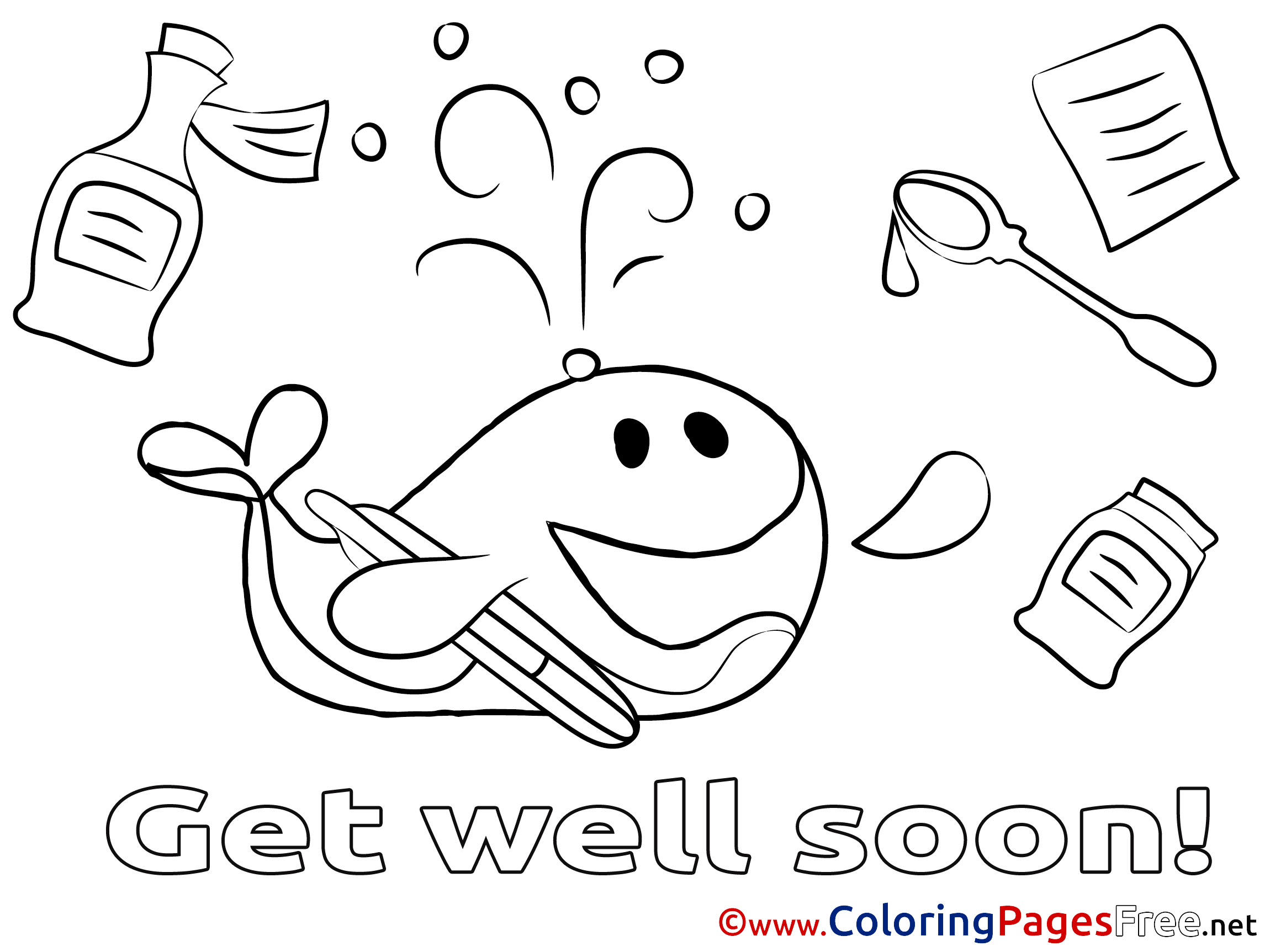 Whale Get well soon free Coloring Pages
