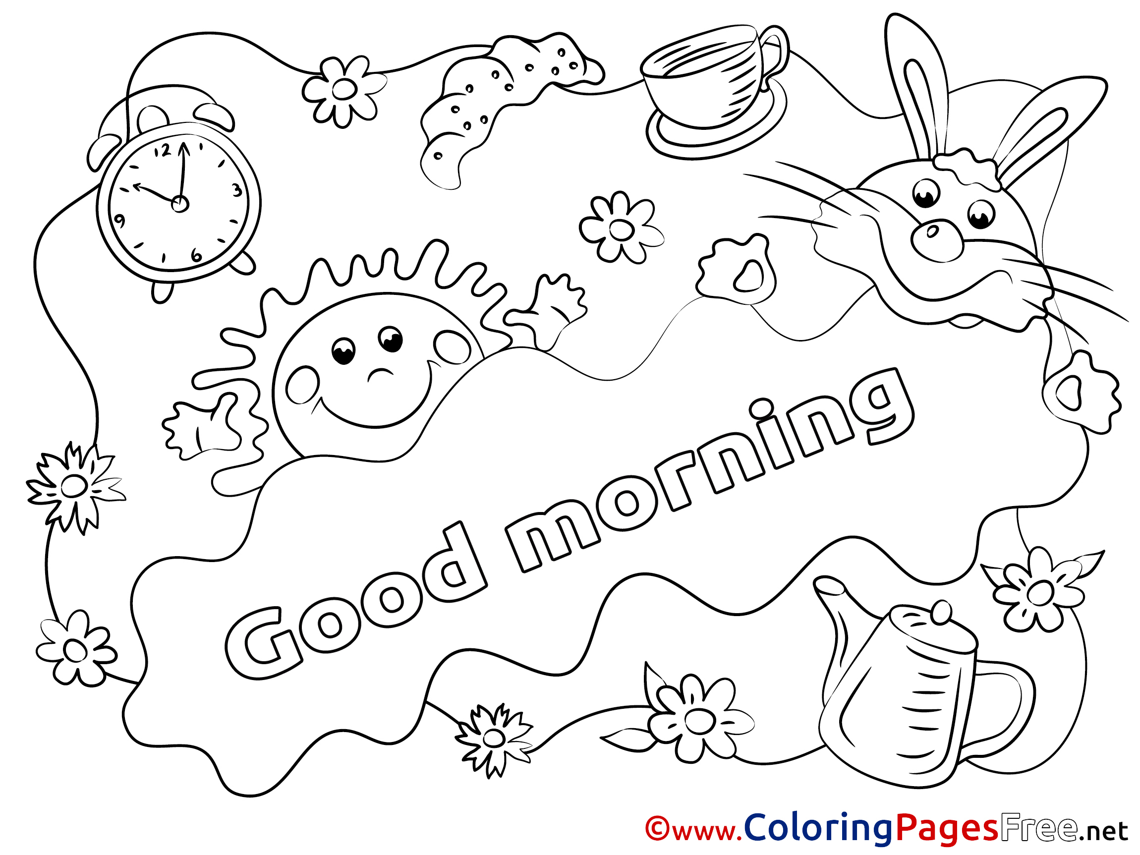 Good Morning Afternoon Coloring Pages | Coloring Pages