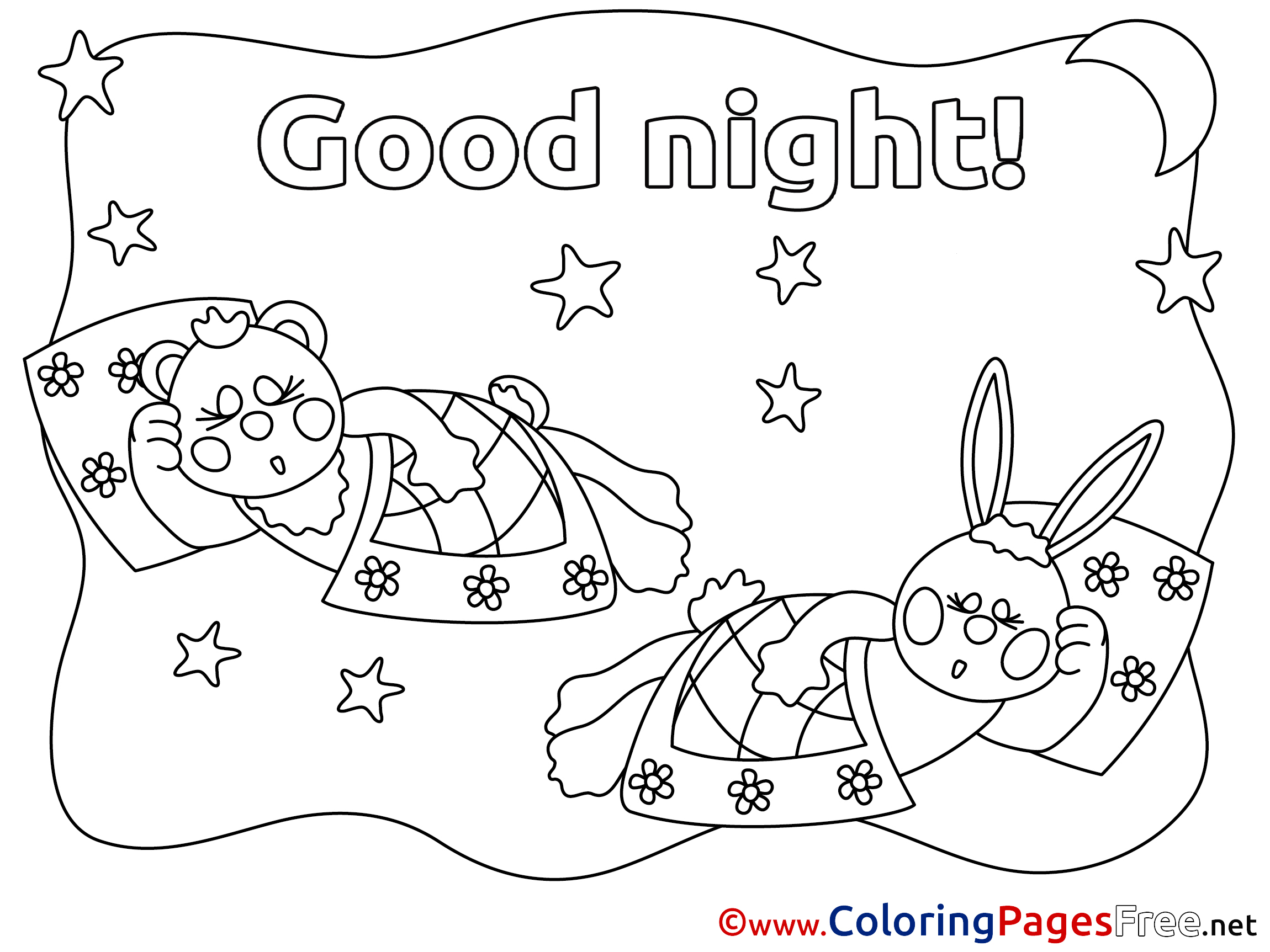 Animals Printable Good Night Coloring Sheets