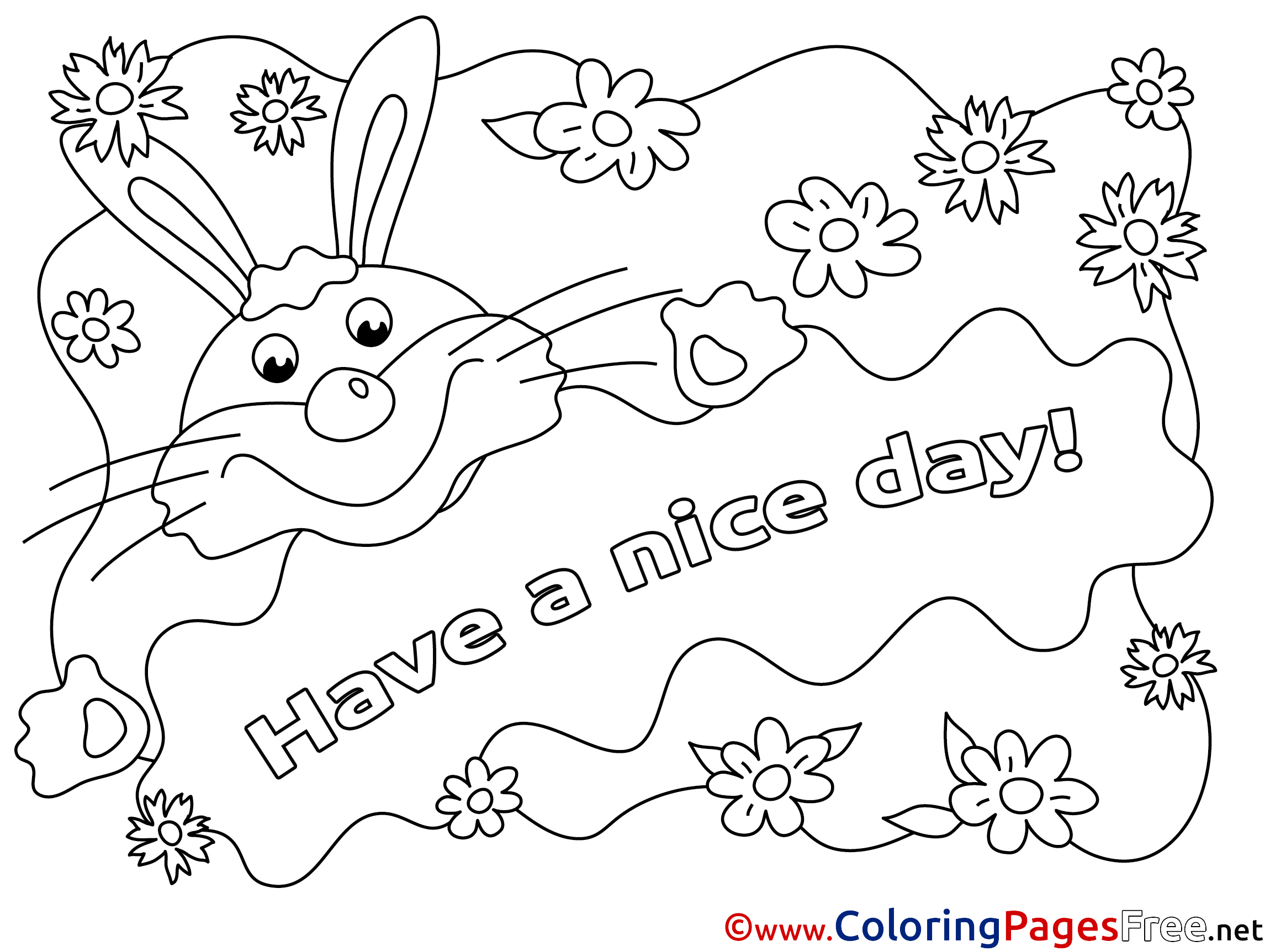 rabbit have a nice day coloring pages free