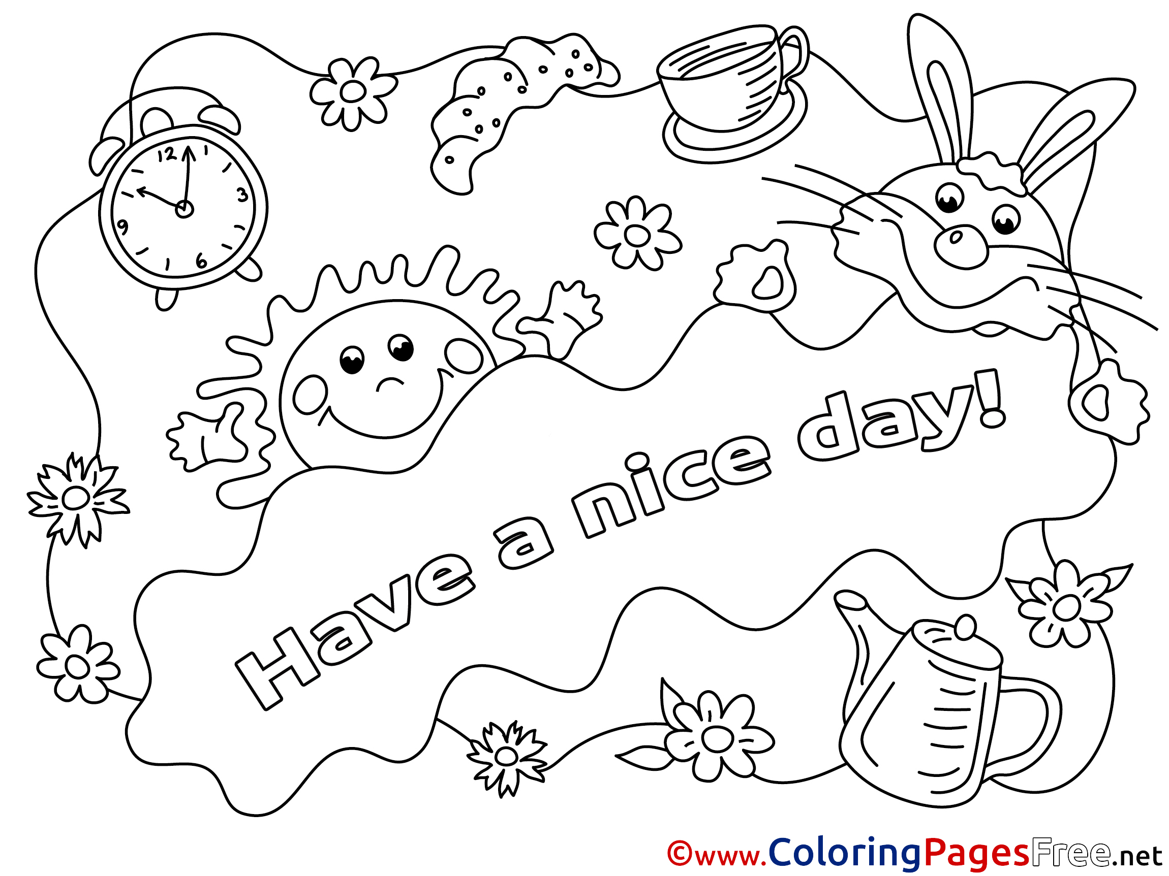 Sun Kids Have A Nice Day Coloring Pages