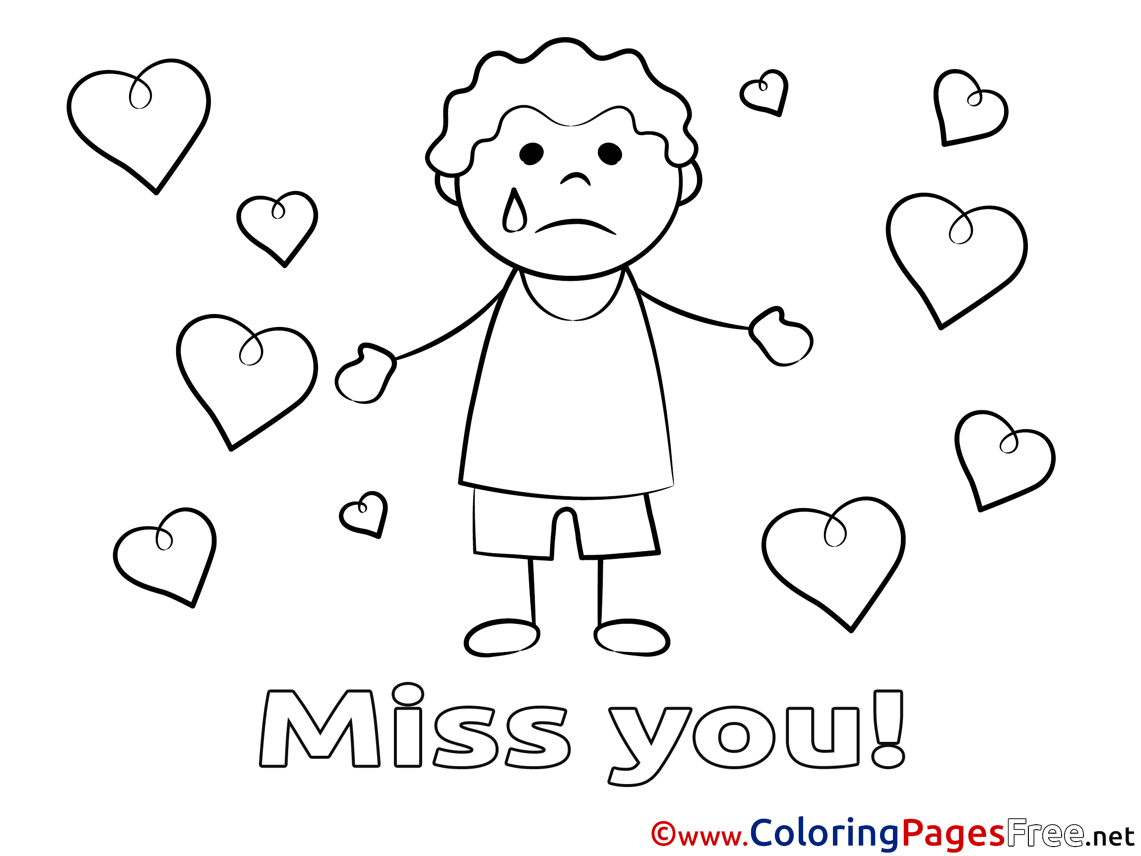 miss you coloring pages - boy kids miss you coloring pages