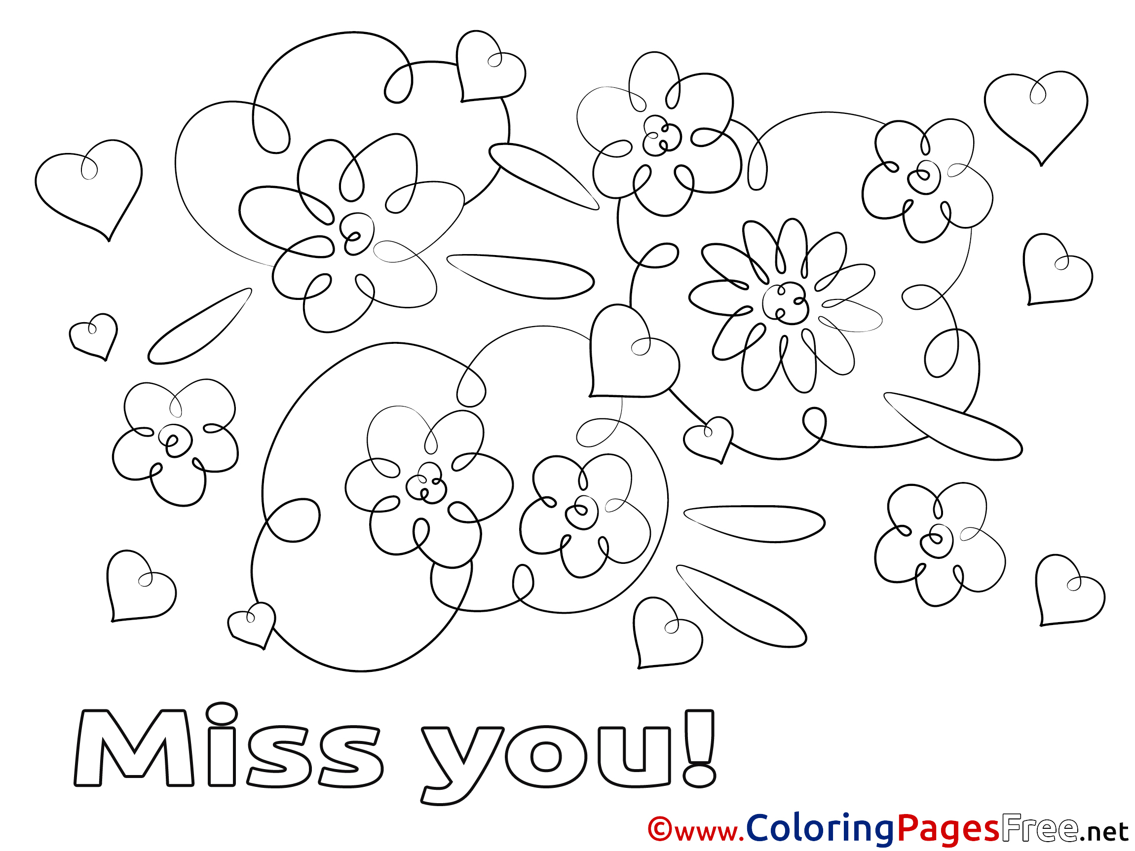 Flowers Printable Miss You Coloring Sheets