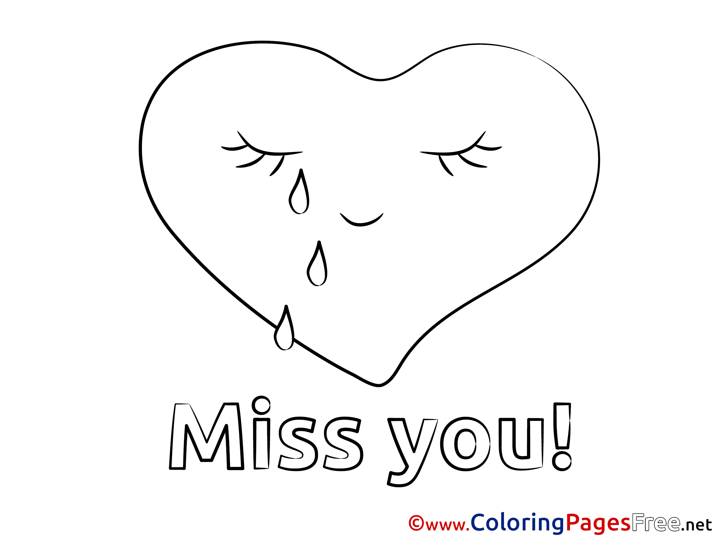 Heart Miss You Coloring Pages Free