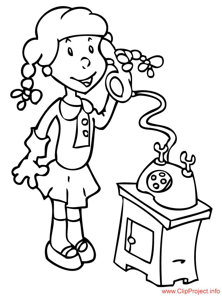 Color sheet girl speaking phone
