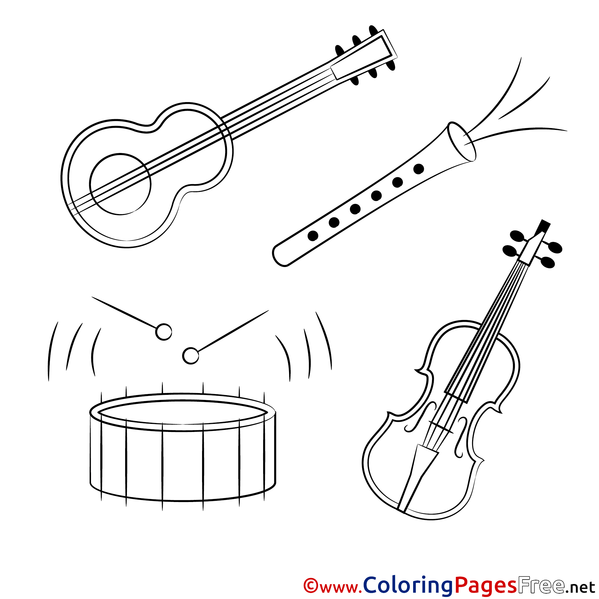 music instrument coloring page - Clip Art Library | 2001x2001