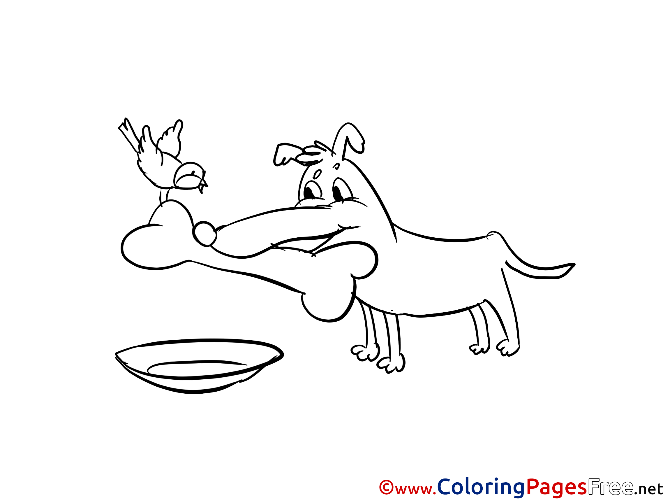 bone for kids printable colouring page