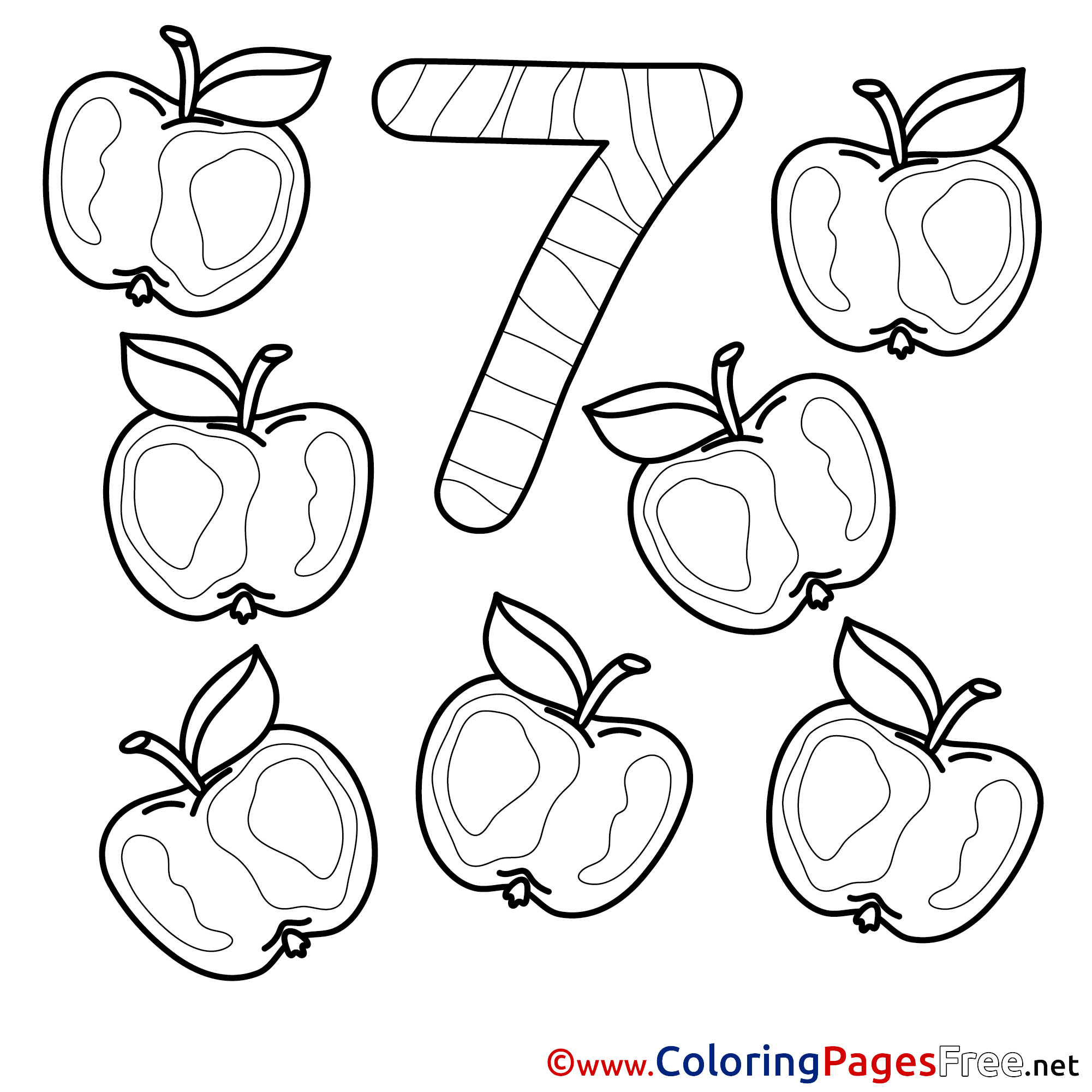 number 7 coloring page.  7 Apples download Numbers Coloring Pages