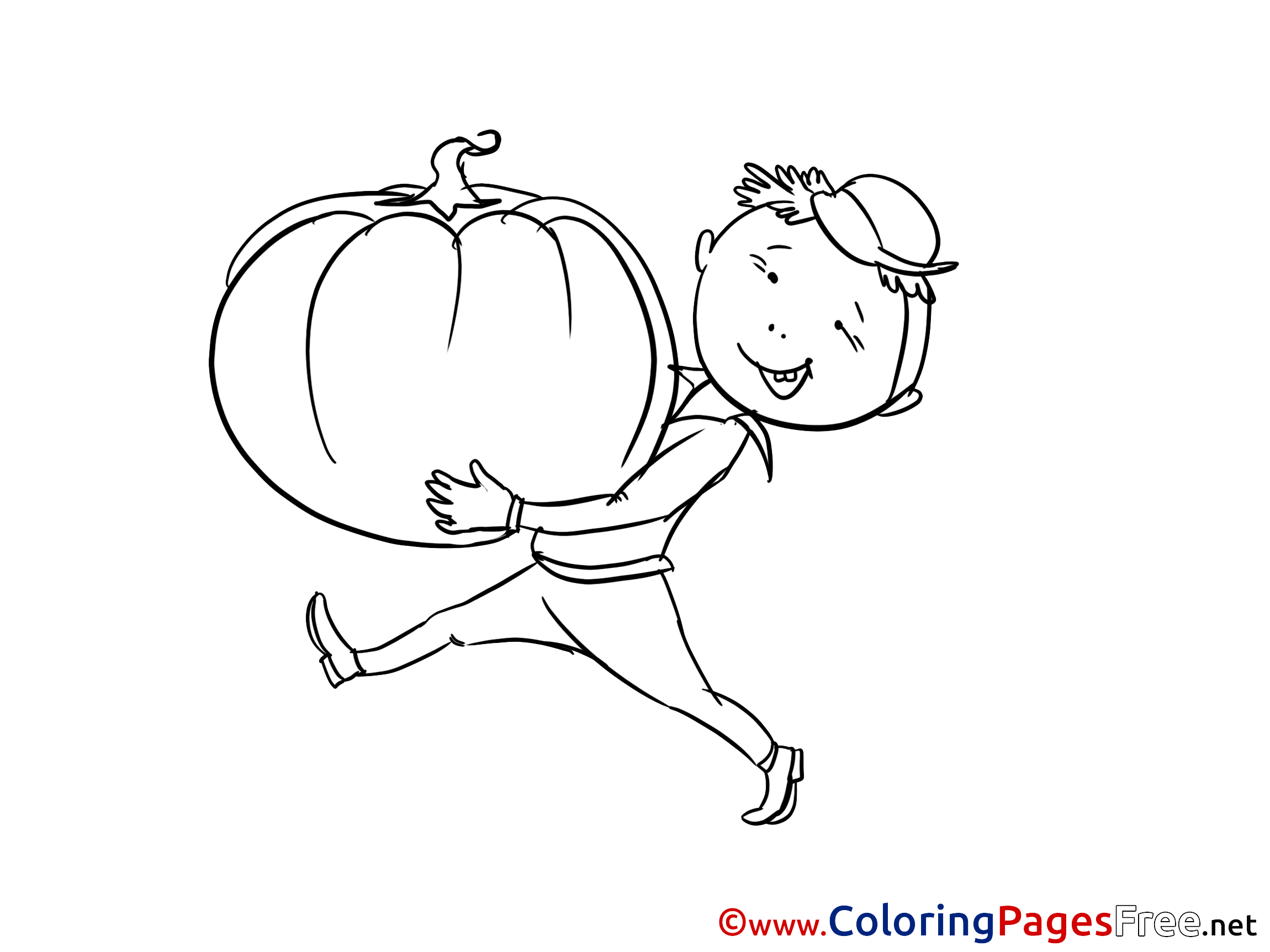 Boy with Pumpkin Coloring Sheets