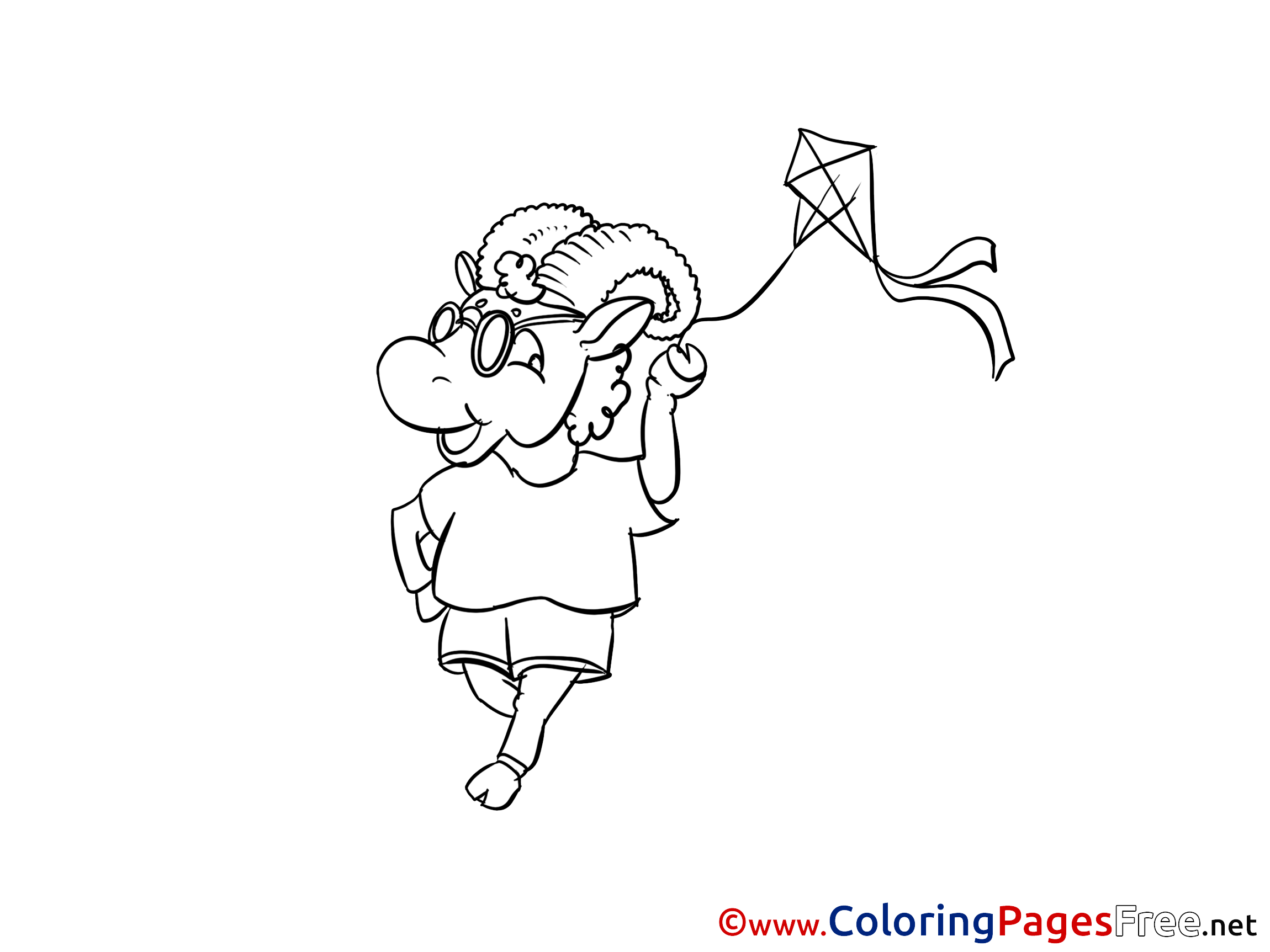 - Kite Coloring Pages For Free