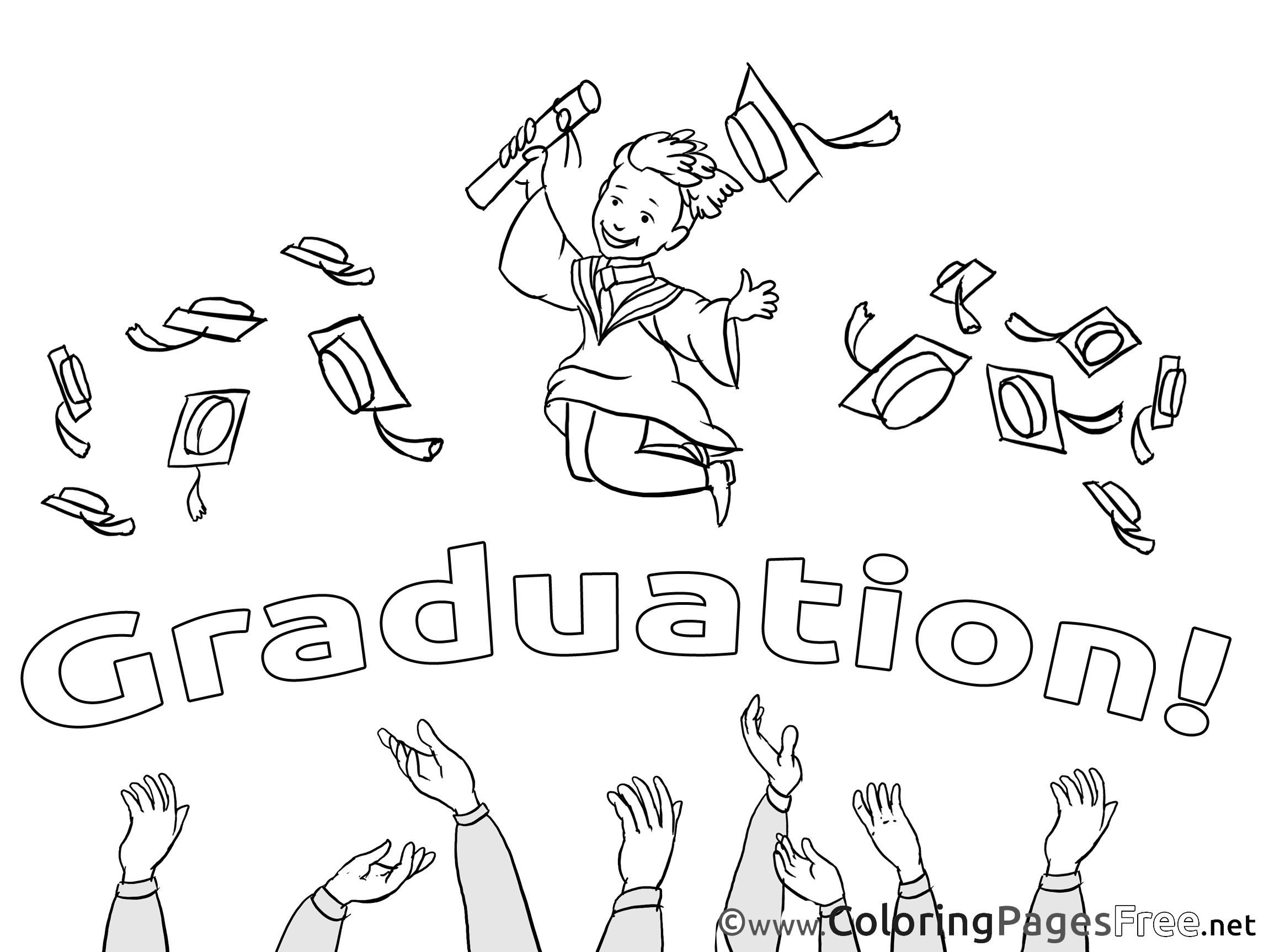 Baccalaureate Kids Graduation Coloring Page
