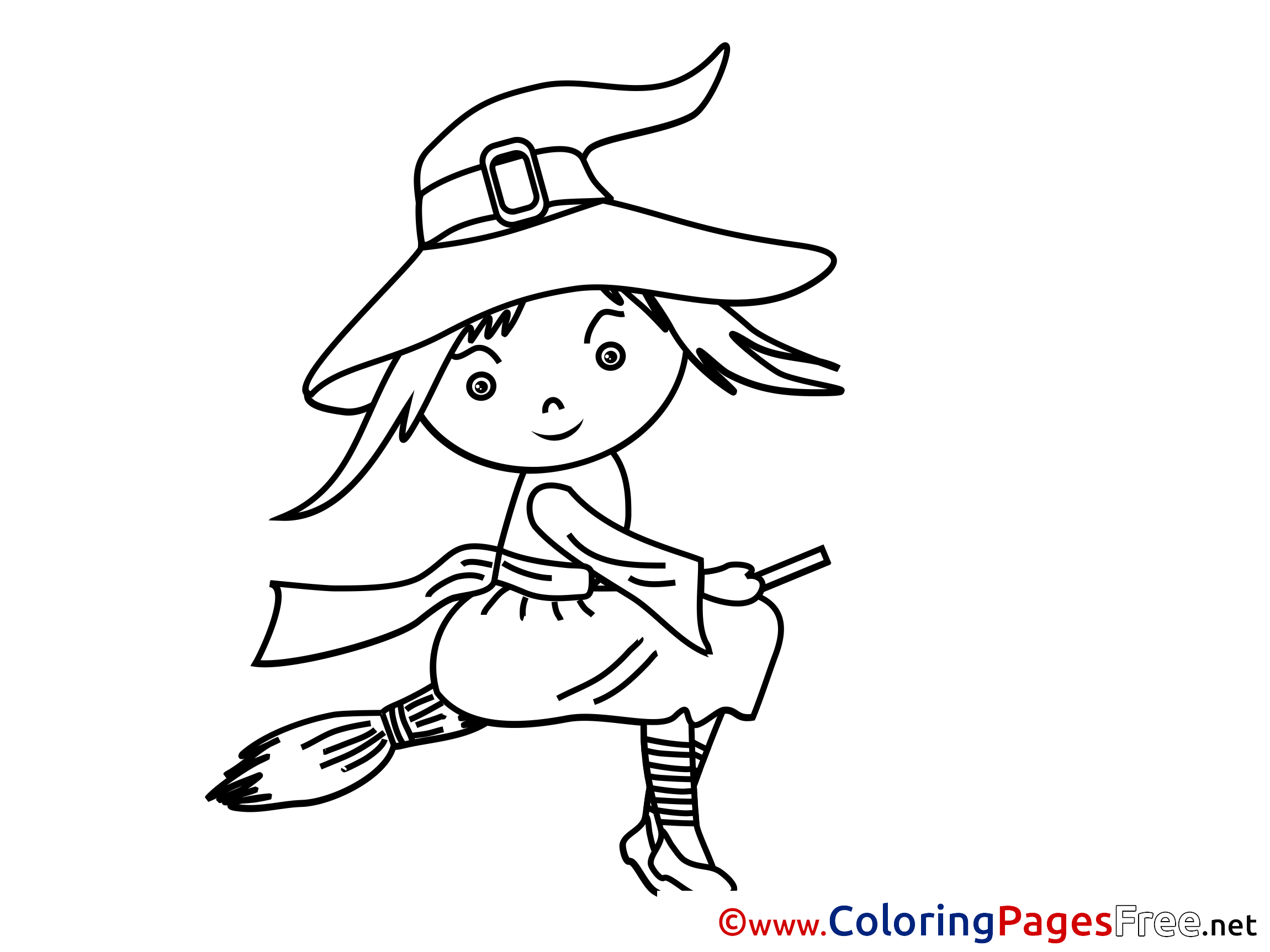Broom printable Halloween Witch Coloring Sheets