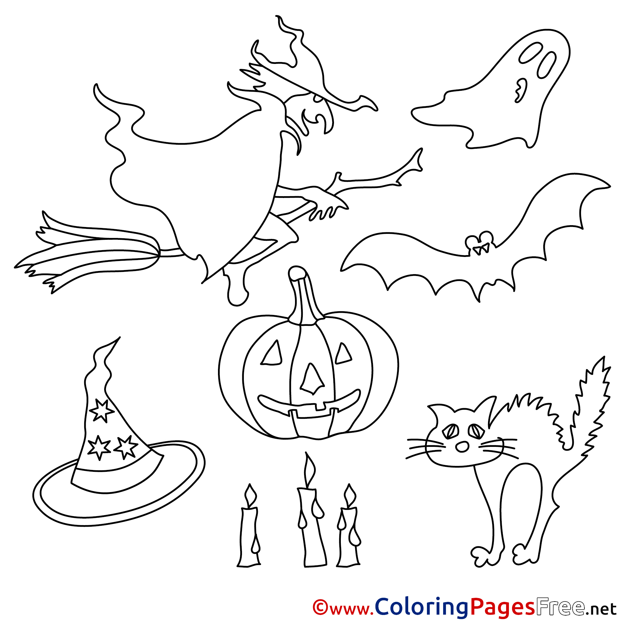 Decoration Kids Halloween Coloring Page