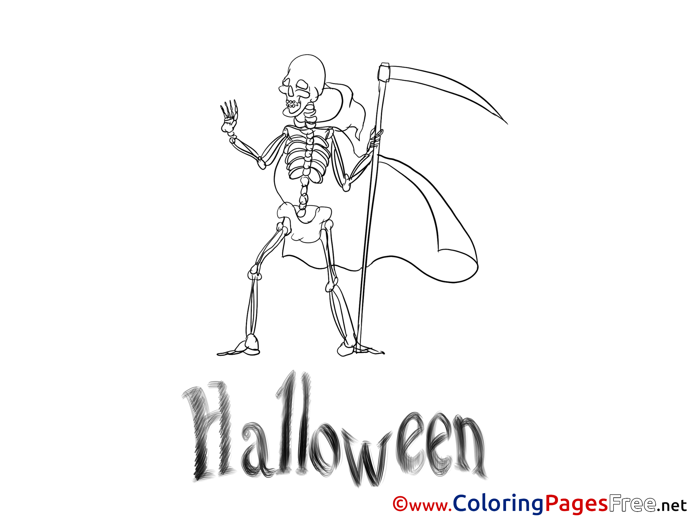 Skeleton Halloween Coloring Pages free