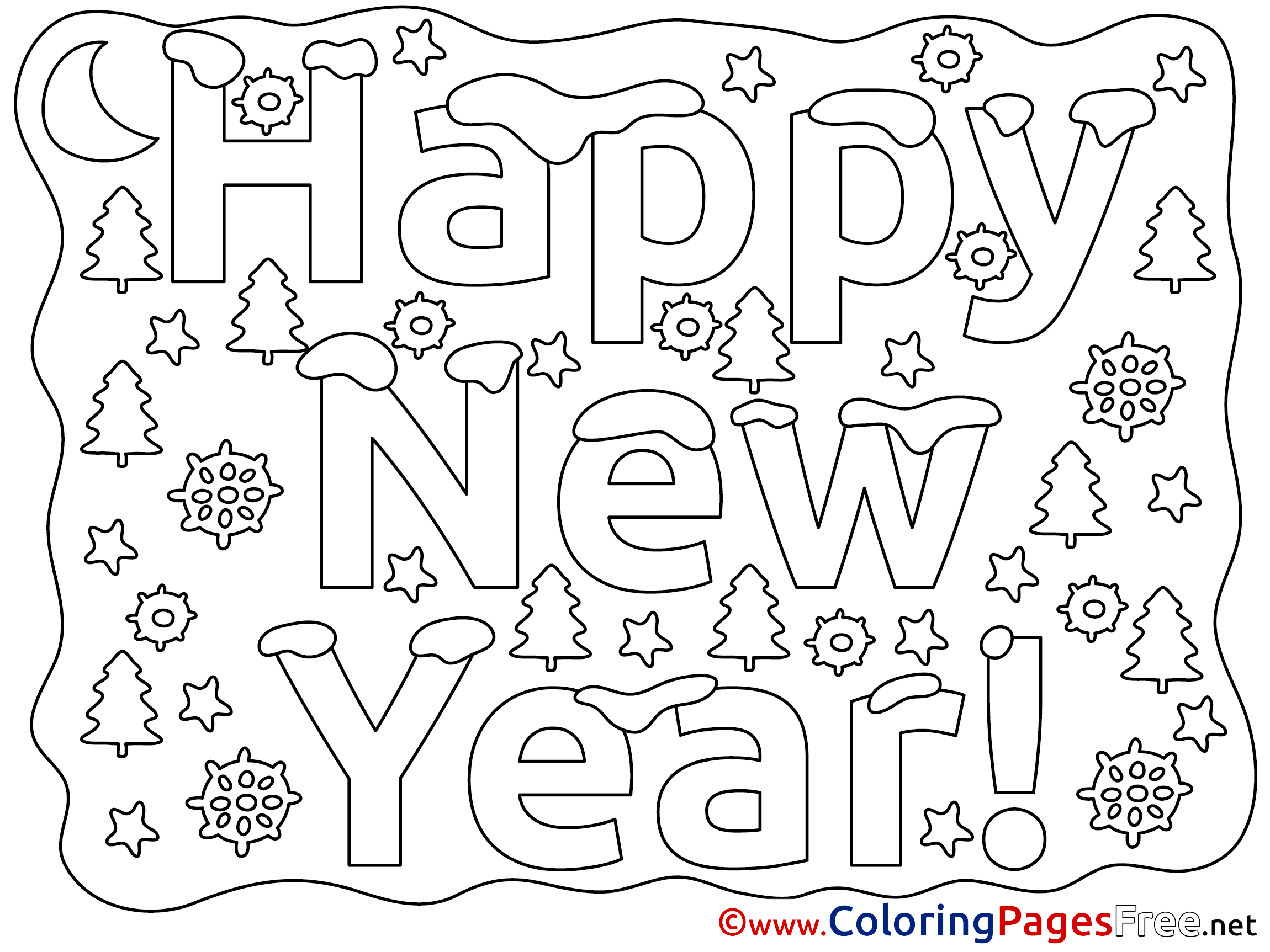 Happy new year coloring page Royalty Free Vector Image | 1725x2300