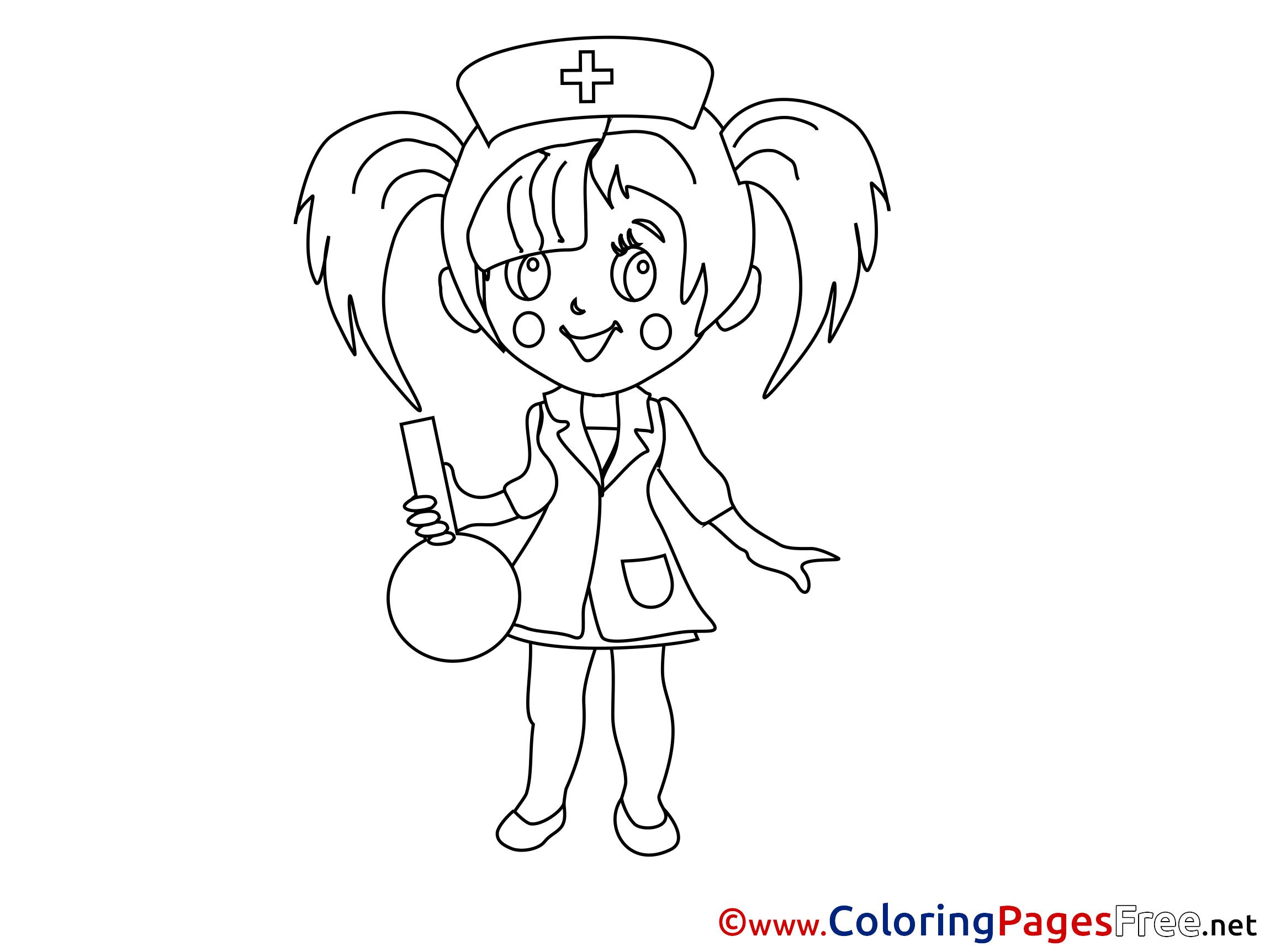 Nurse Kids Free Coloring Page