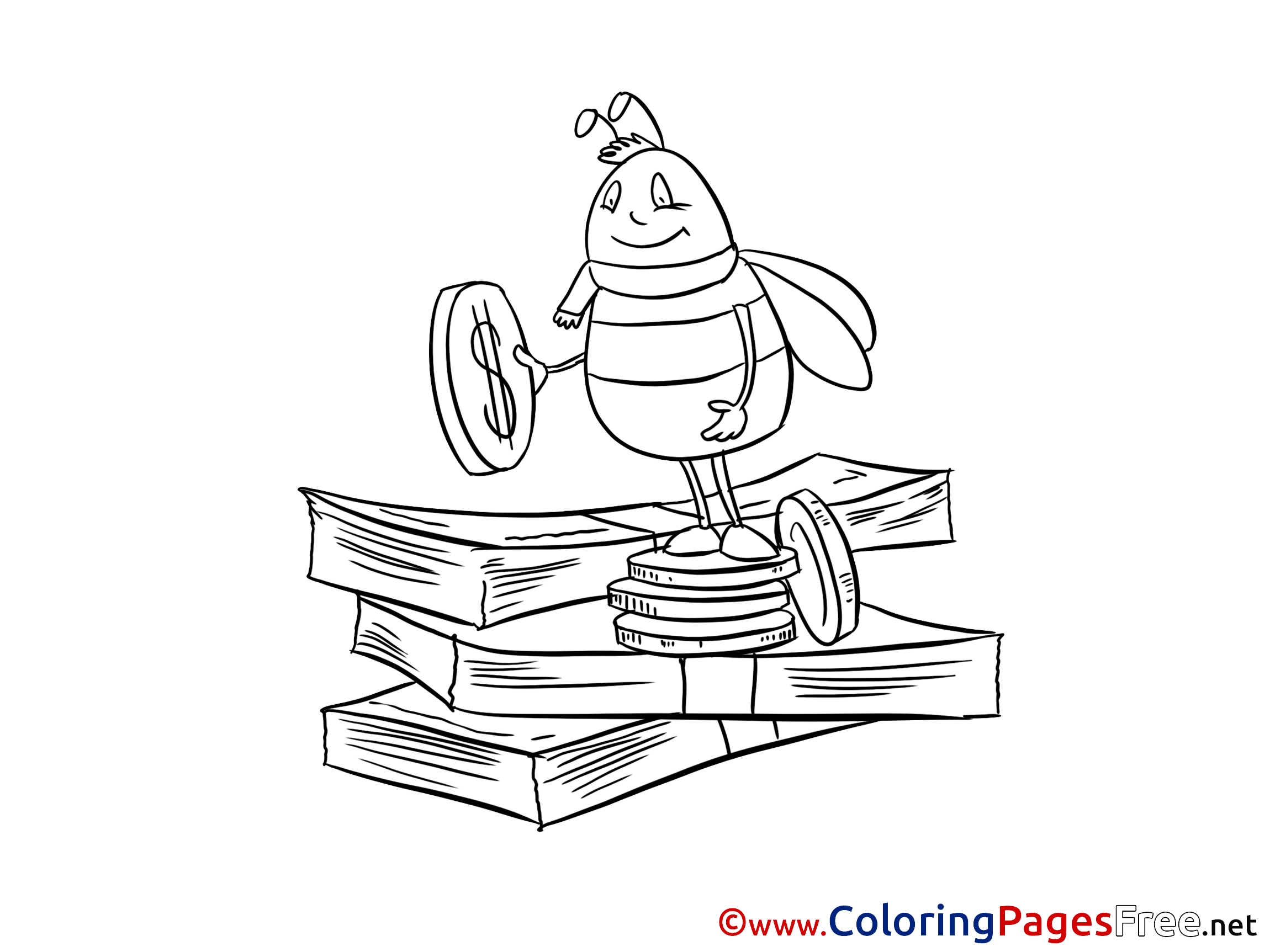 Bee Money for Children free Coloring Pages