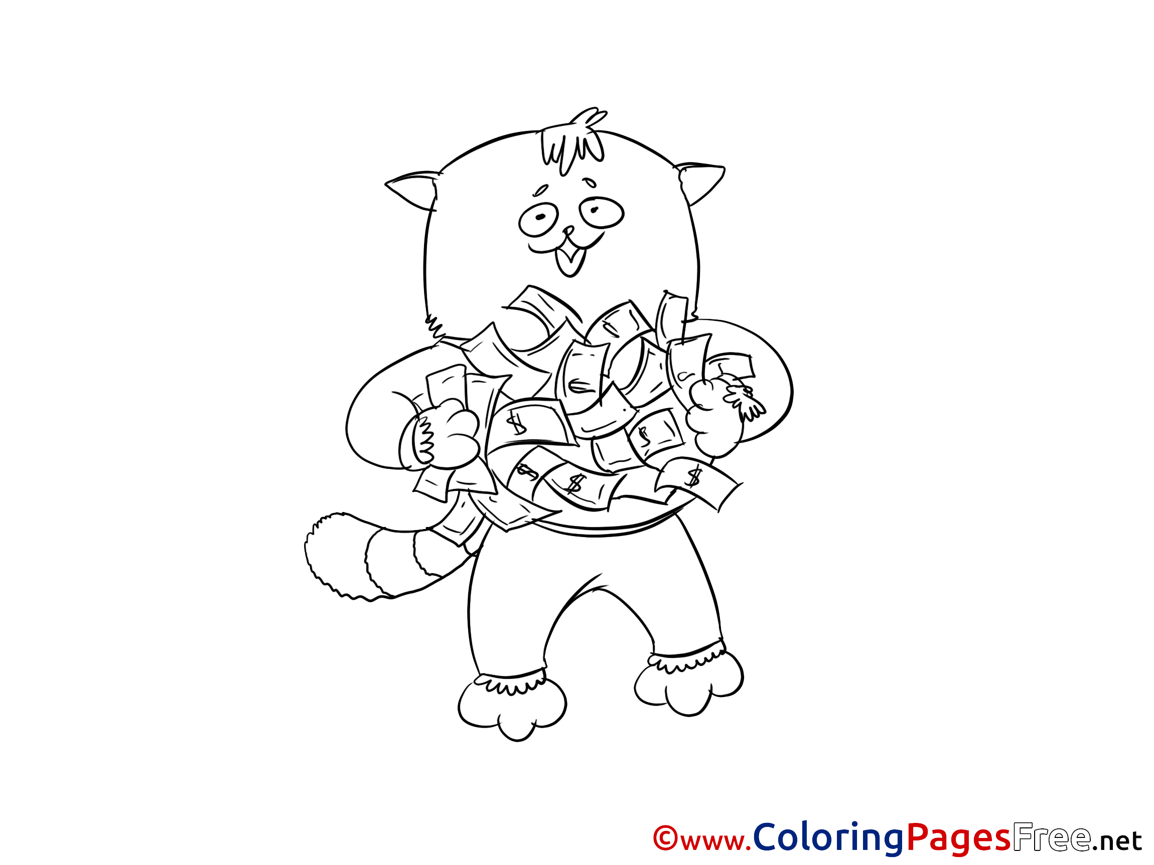 Cat Money for free Coloring Pages download