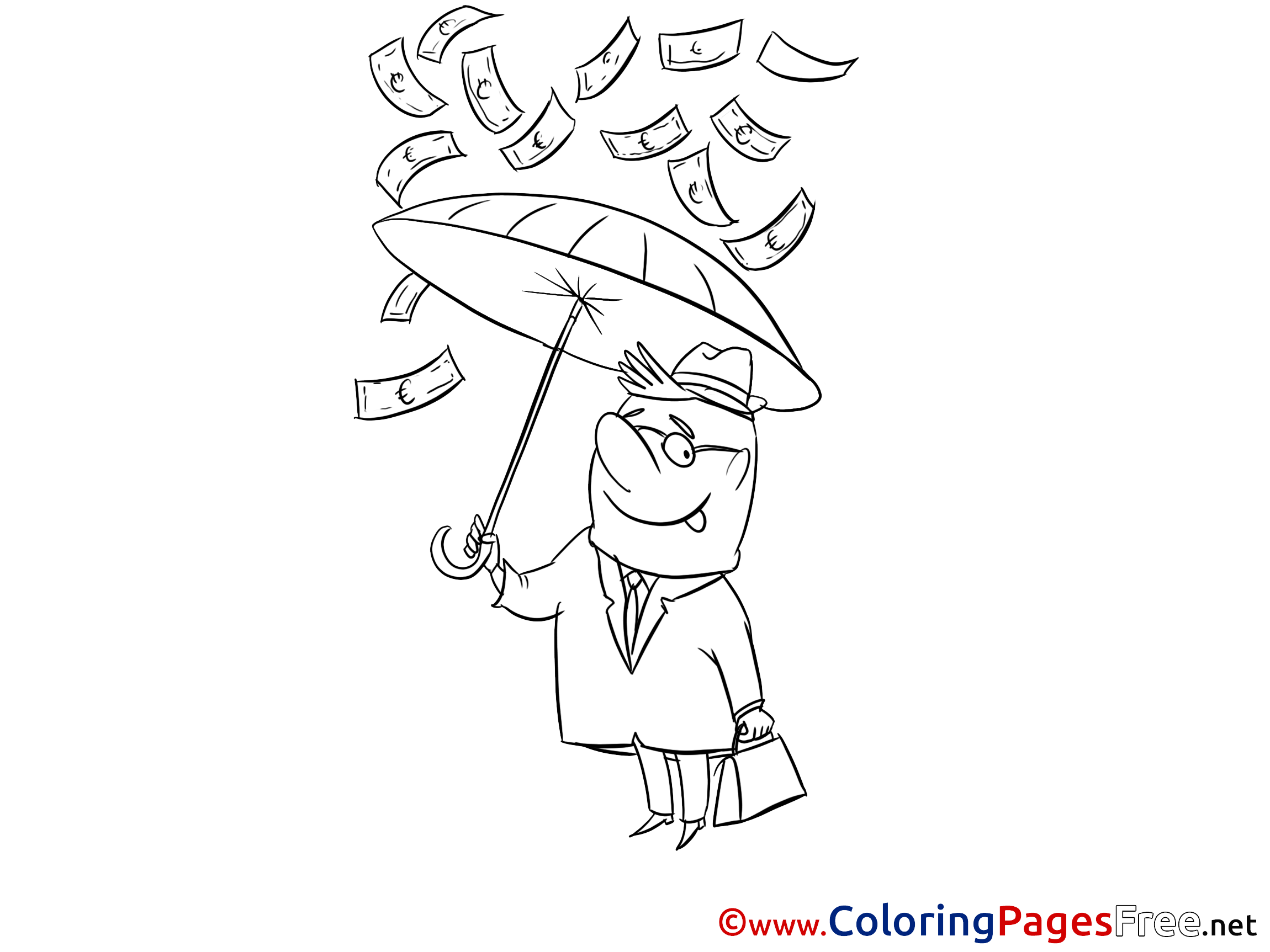 Umbrella Money Man download printable Coloring Pages