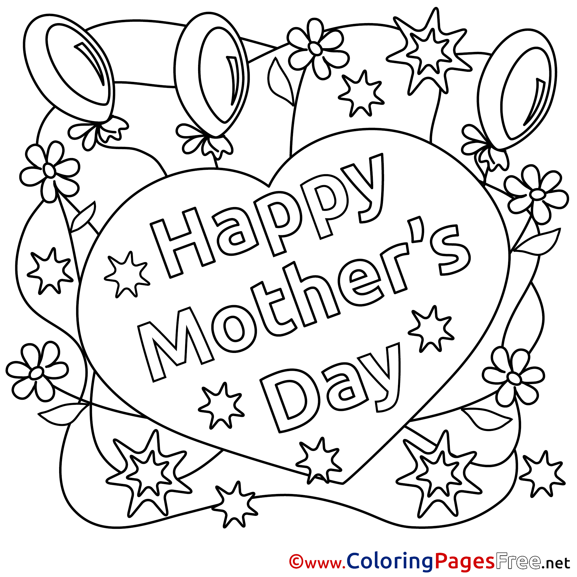Balloons Mothers Day Flowers Coloring Pages Download