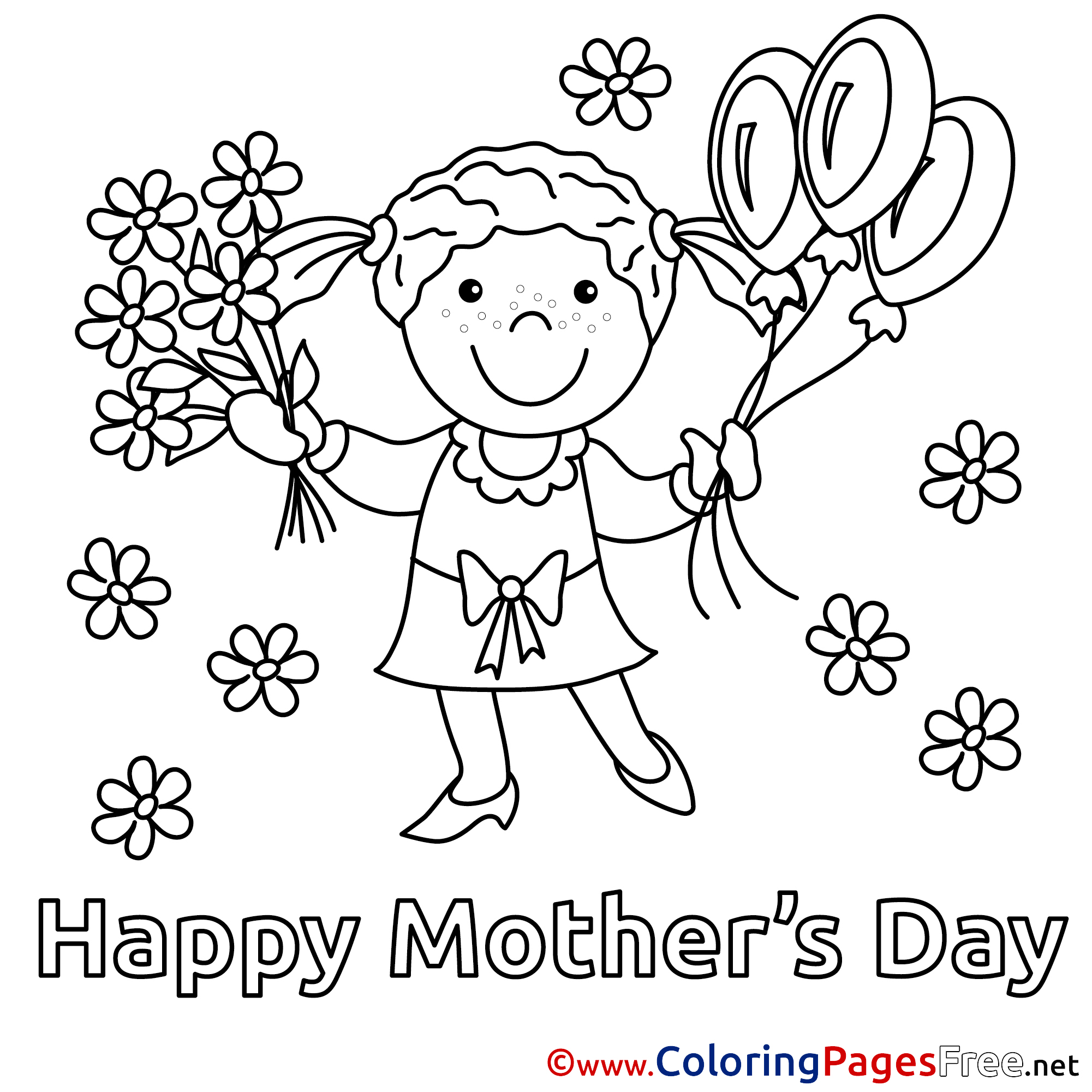Bouquet Daughter Flowers Balloons Coloring Pages Mothers Day For Free