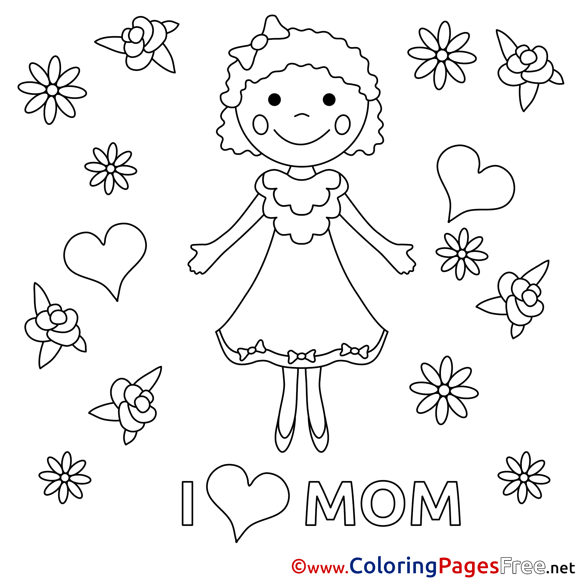 Daughter Felicitation free Mother\'s Day Coloring Sheets