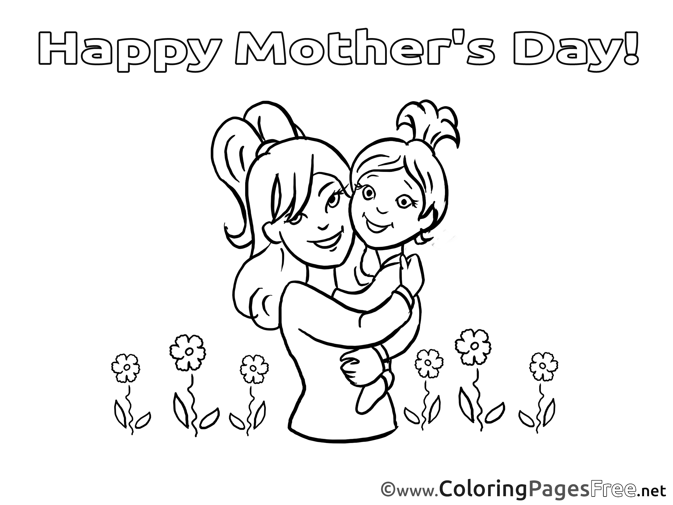Daughter Flowers Mom Coloring Sheets Mother\'s Day free
