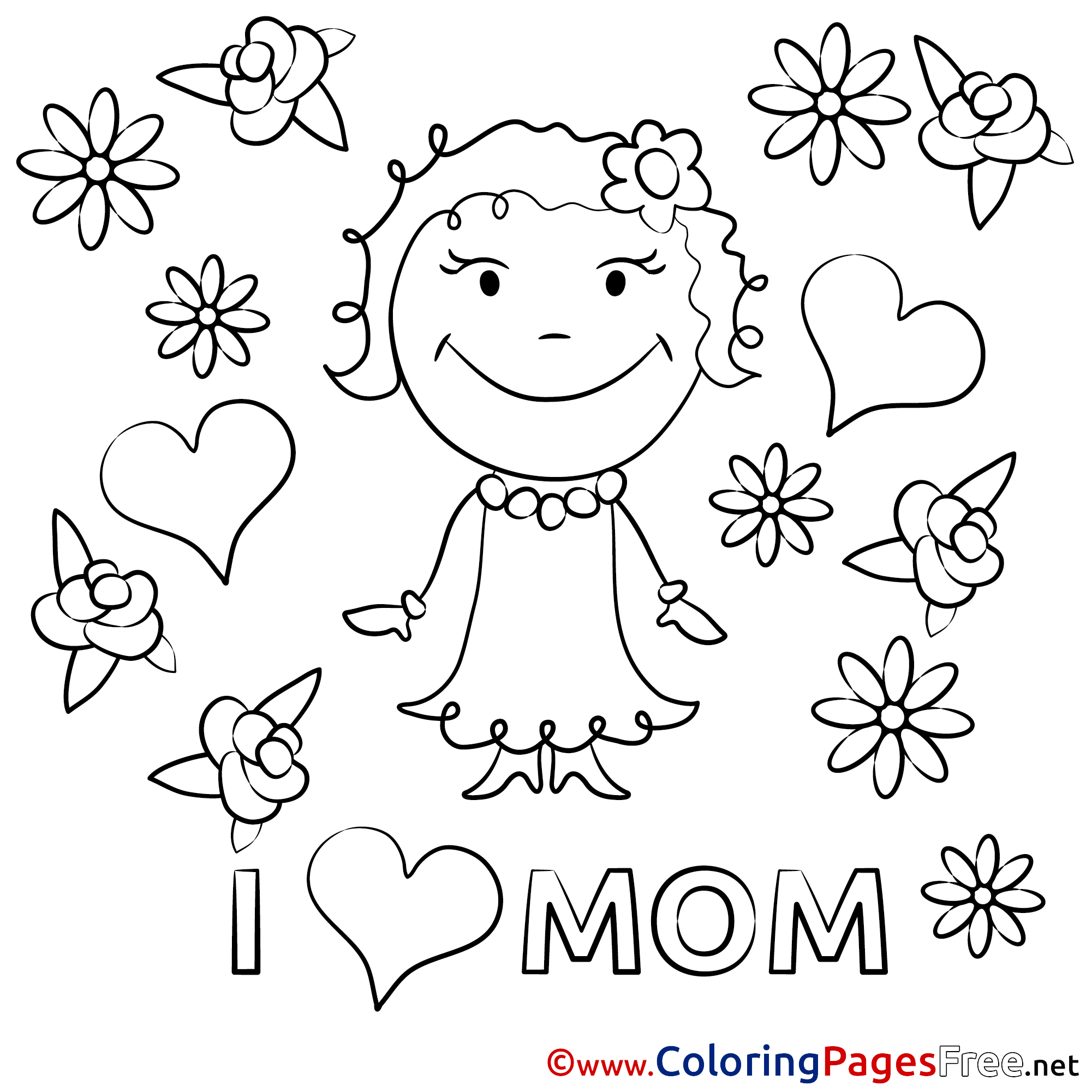 Daughter Flowers printable Coloring Pages Mother\'s Day