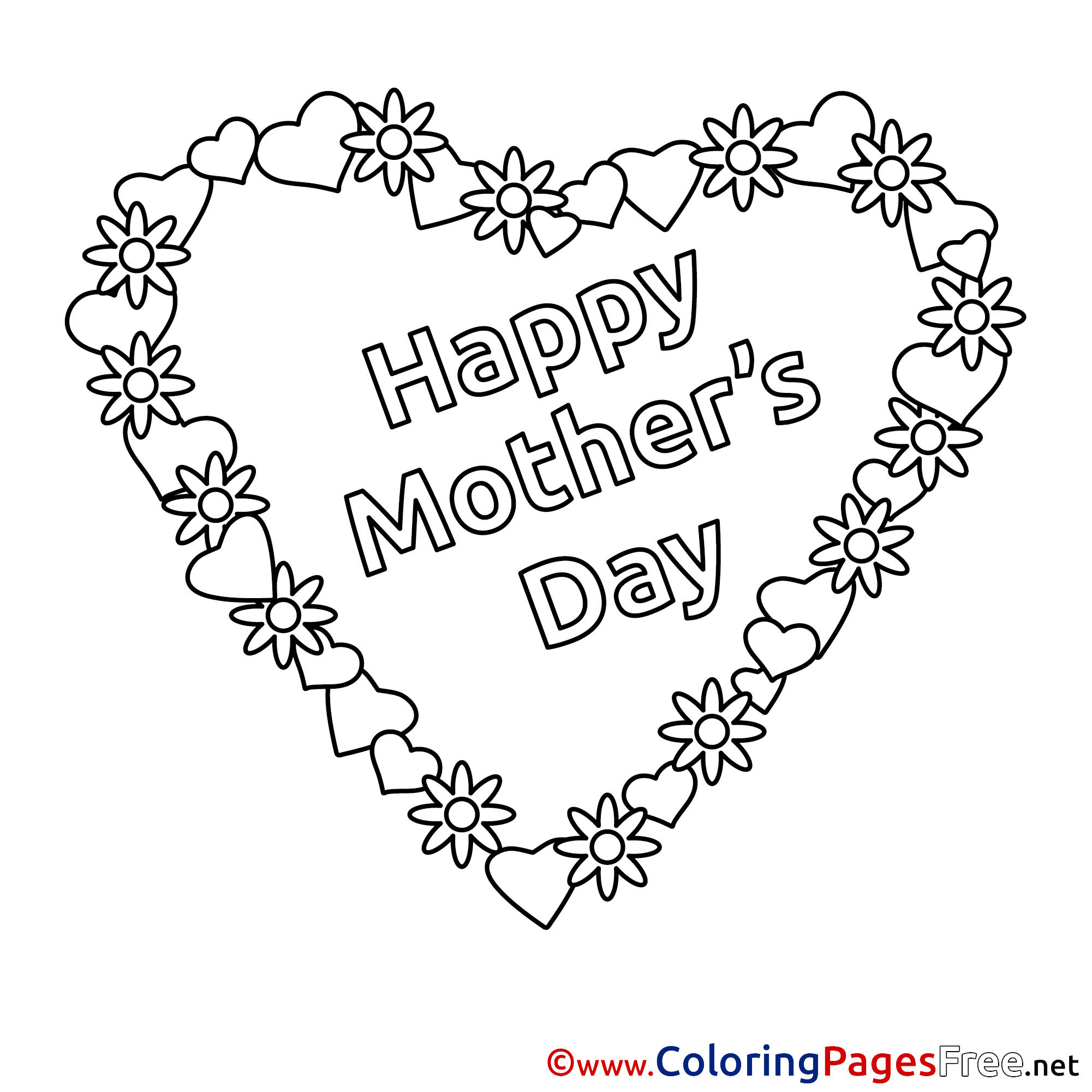 - Holiday Heart Flowers Mother's Day Free Coloring Pages
