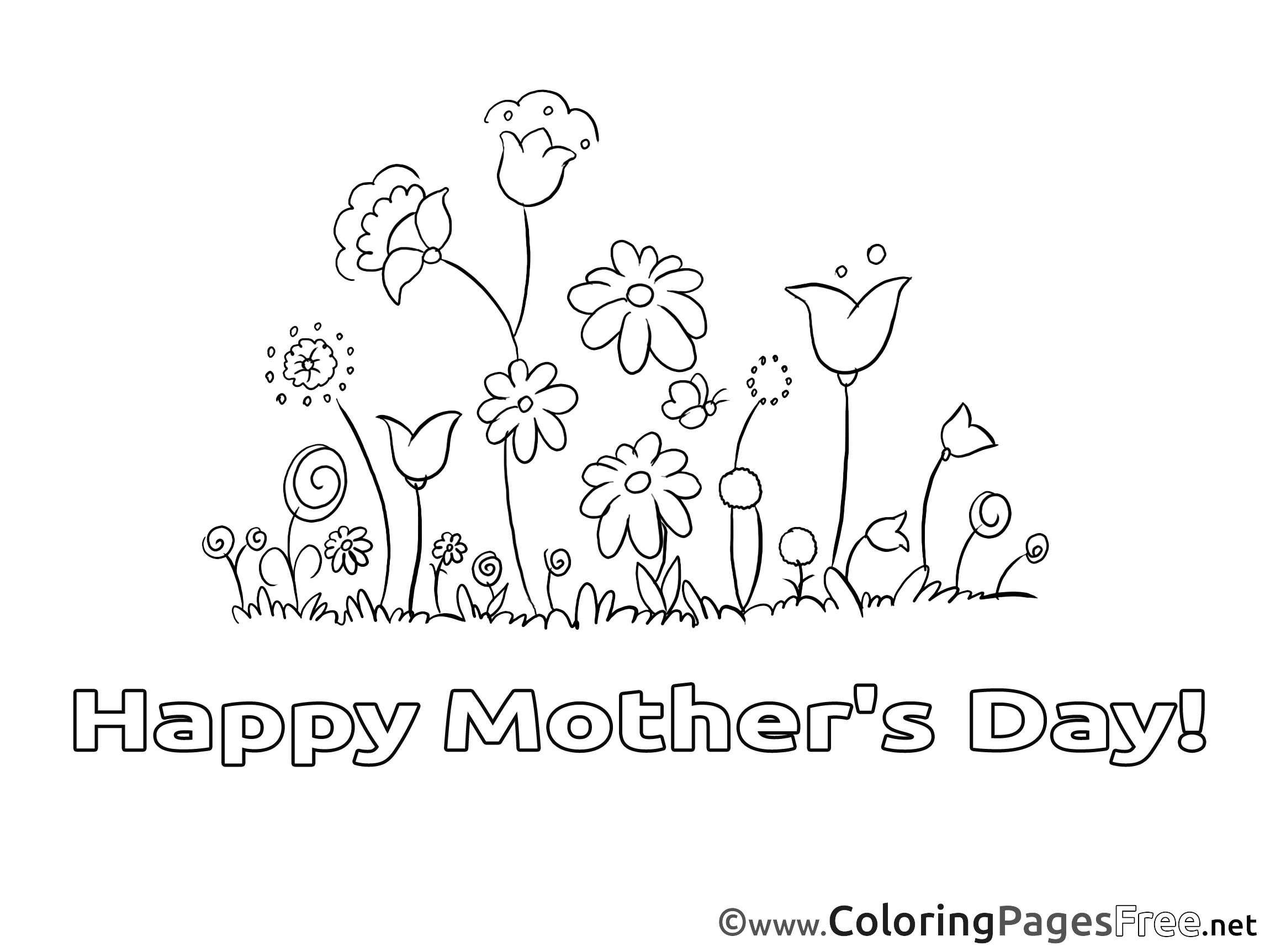 - Meadow Flowers Printable Mother's Day Coloring Sheets