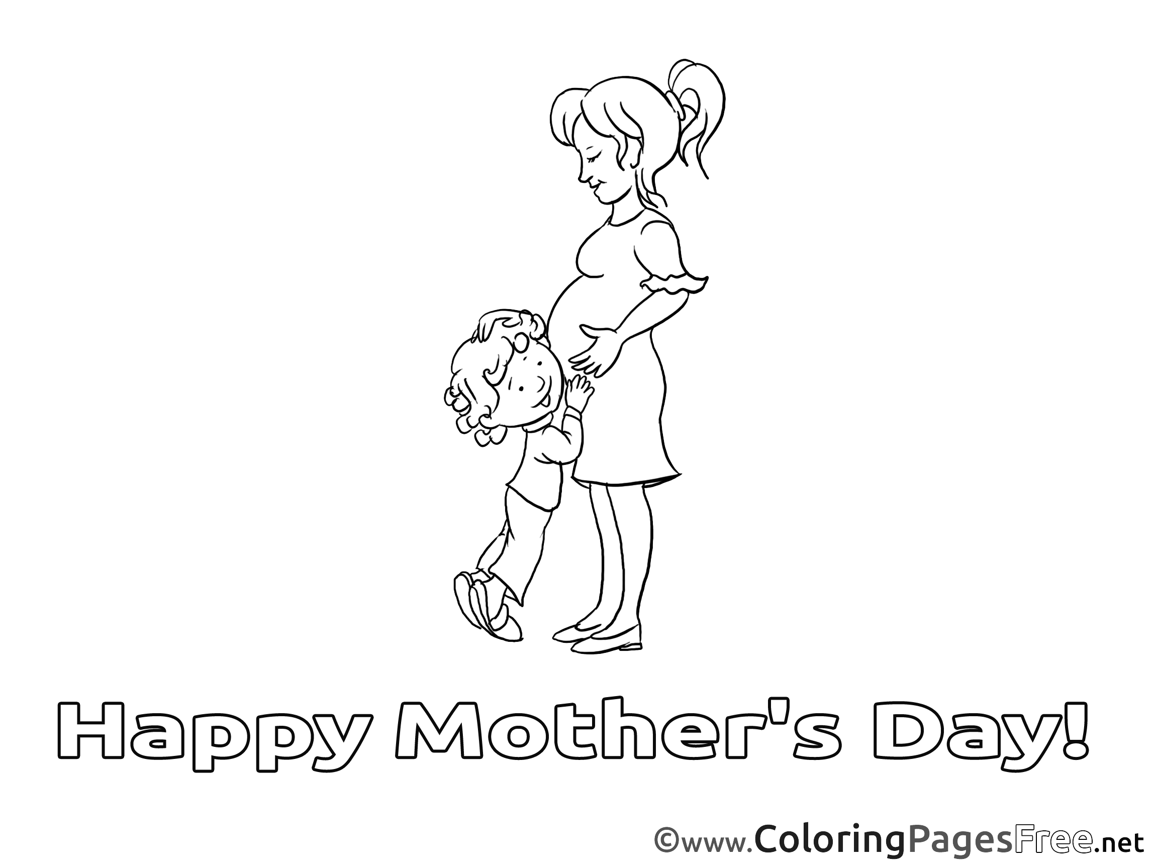 Pregnancy Mother\'s Day Coloring Pages free