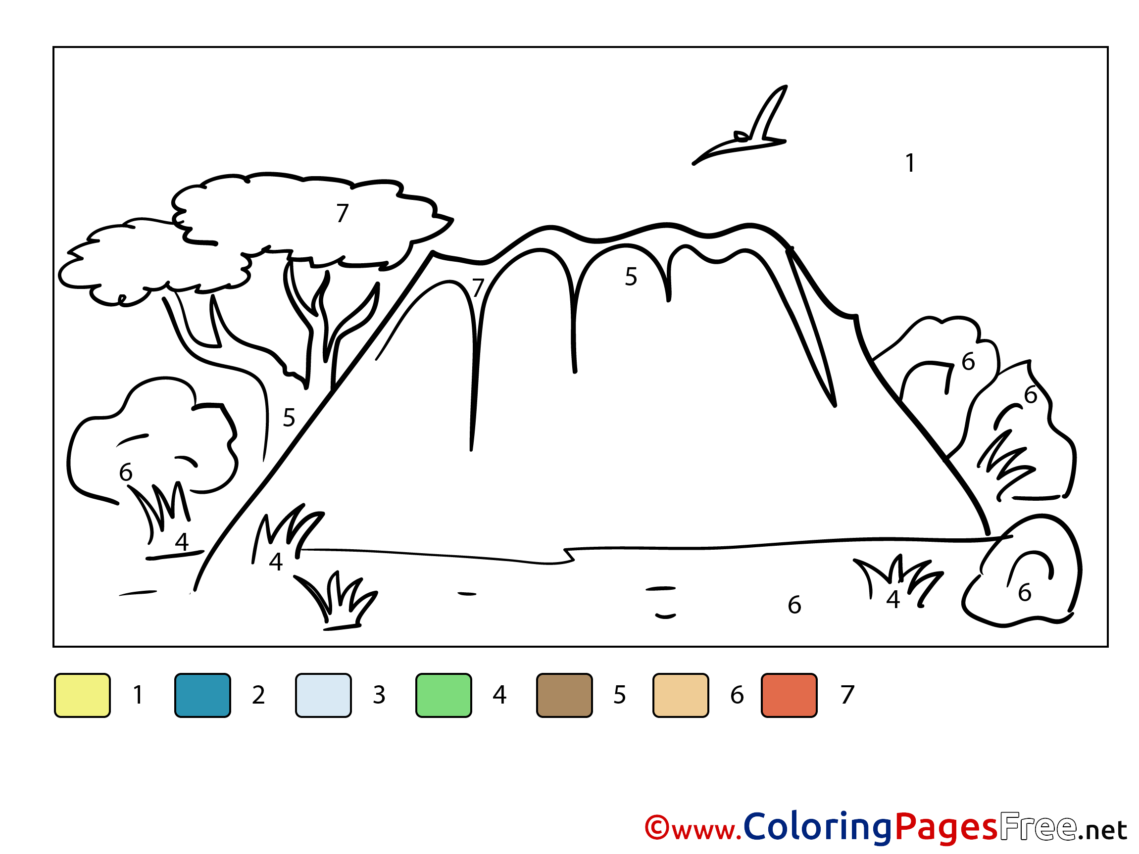 Mountain Painting By Number Coloring Pages Download