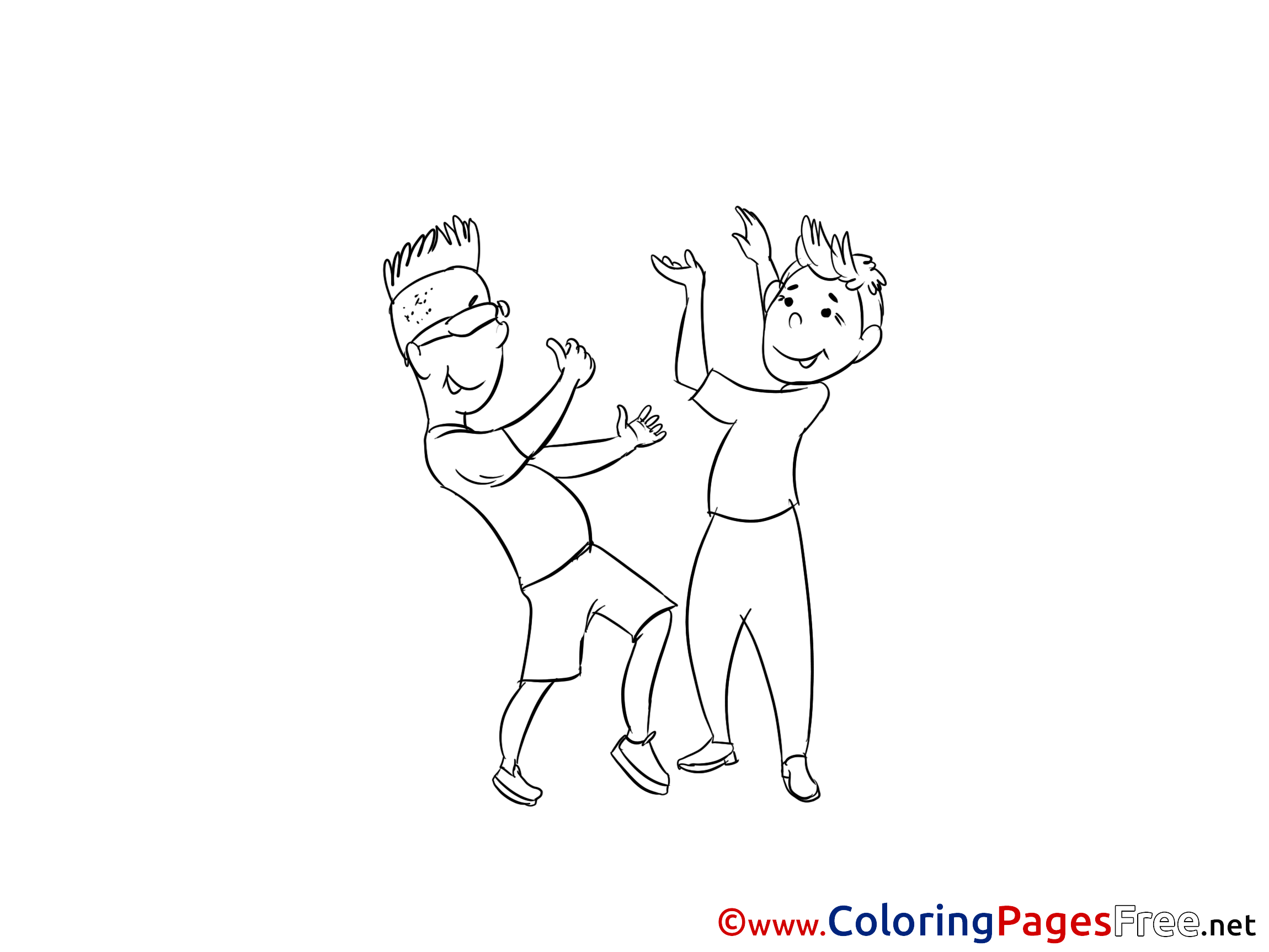 Boys Dancing for free Coloring Pages download