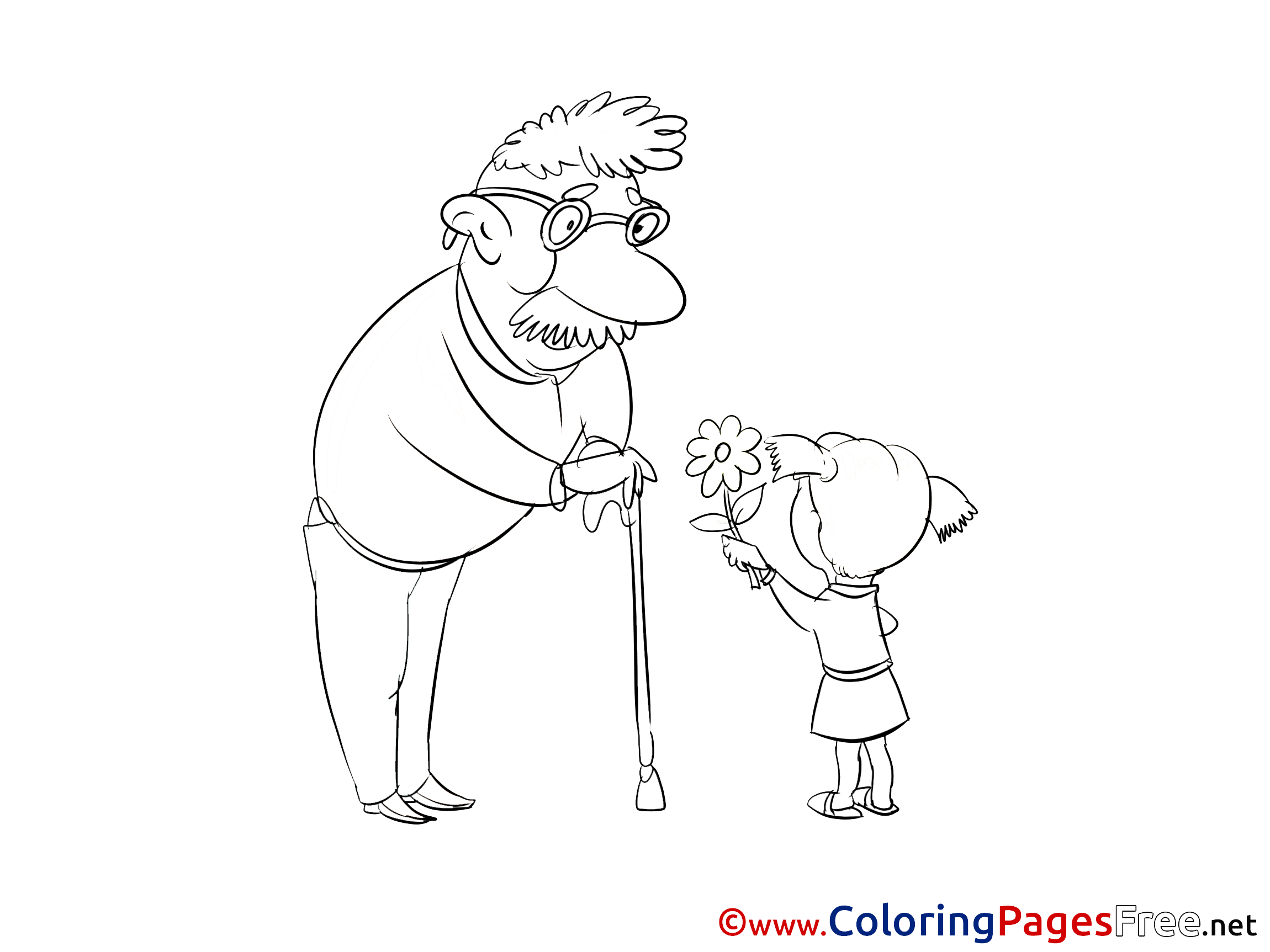 Grandfather and Girl for Children free Coloring Pages