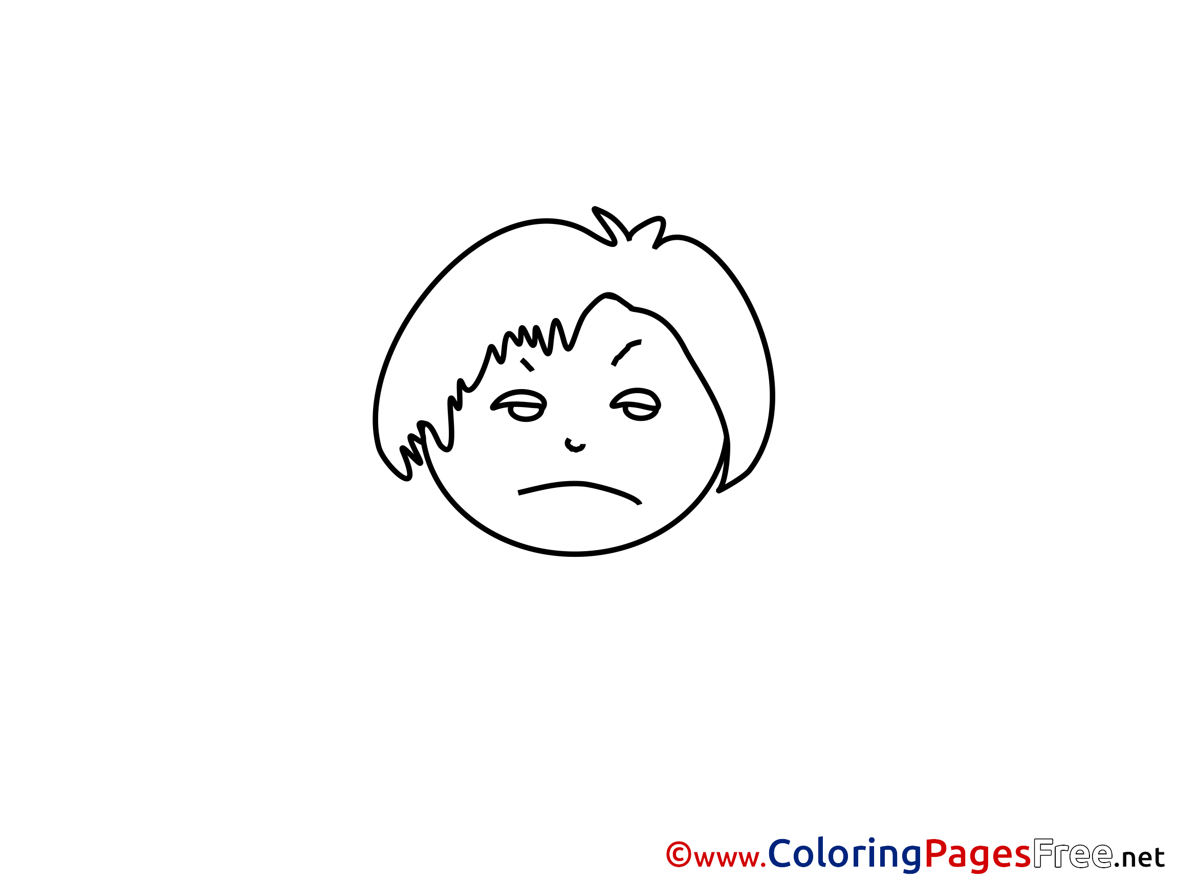 Sad Face for Children free Coloring Pages