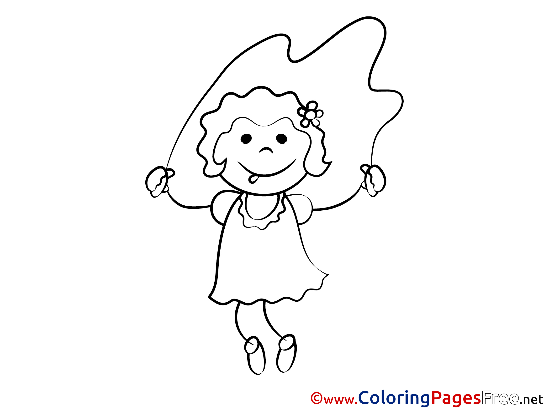 m/02csf Dress Drawing Line art, girl jumping rope coloring pages ... | 1725x2300