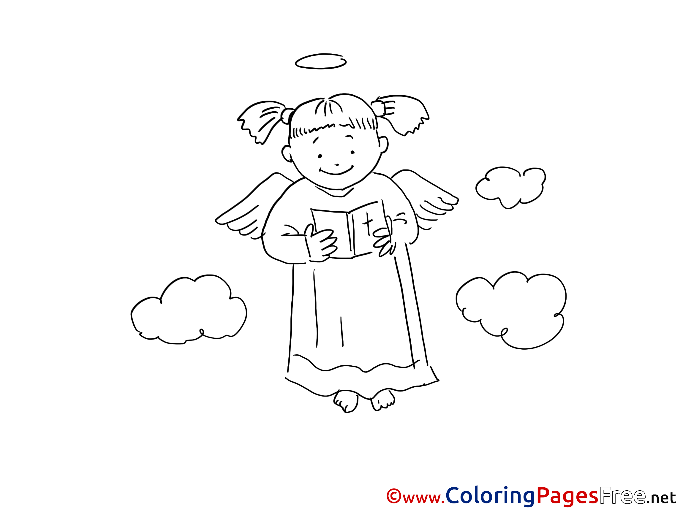 Clouds printable Coloring Pages Christening Angel
