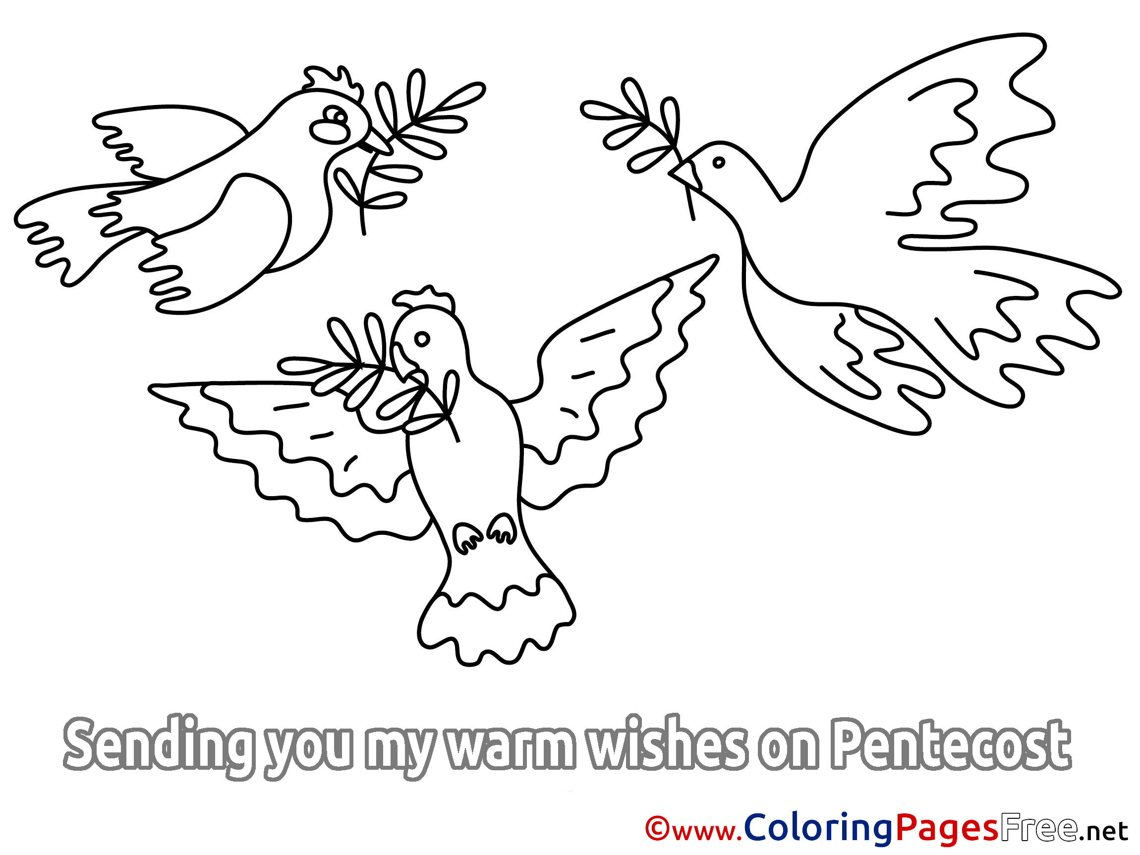 Holiday Kids Pentecost Coloring Page
