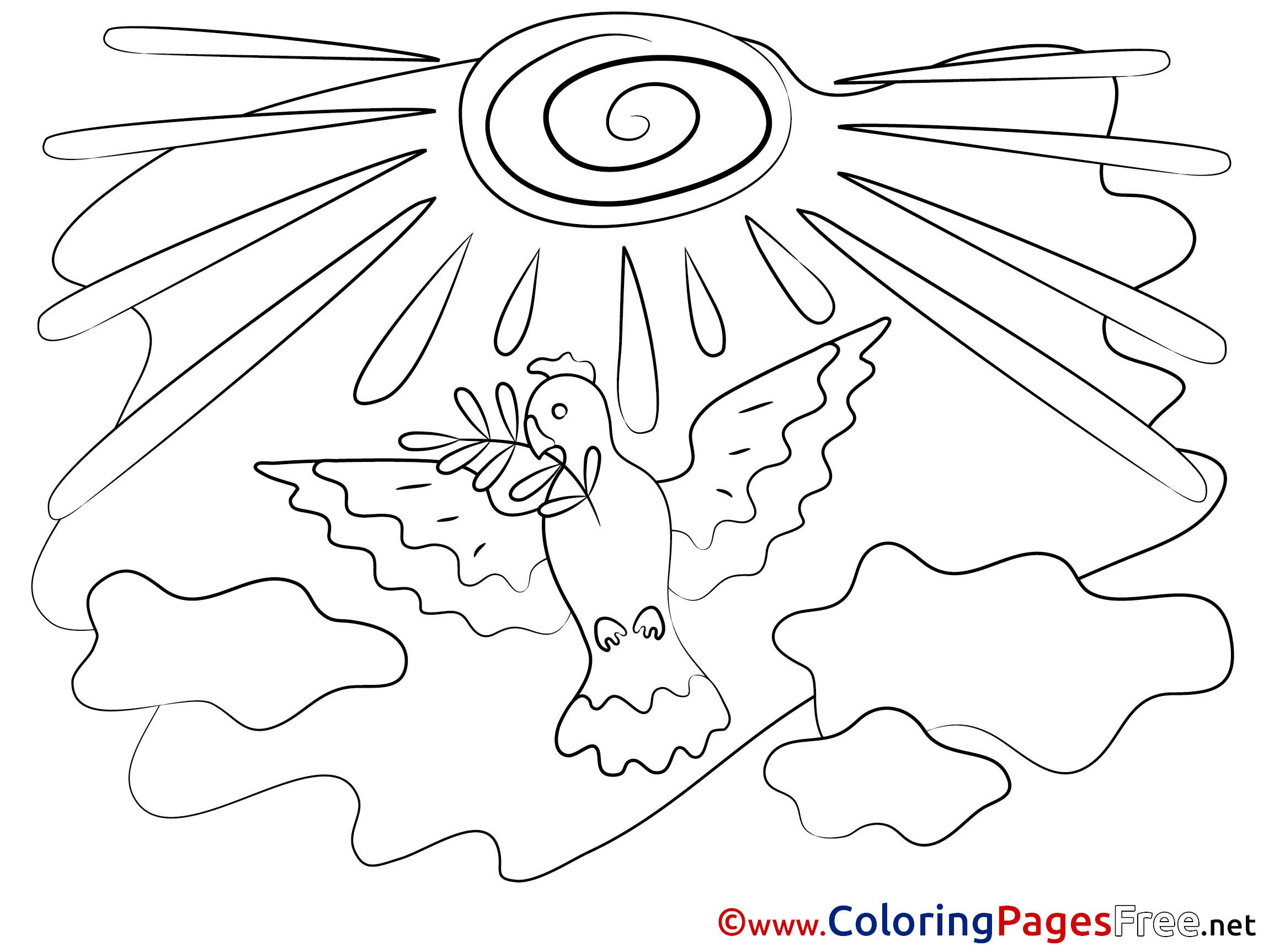 Nuages Sun Children Pentecost Colouring Page