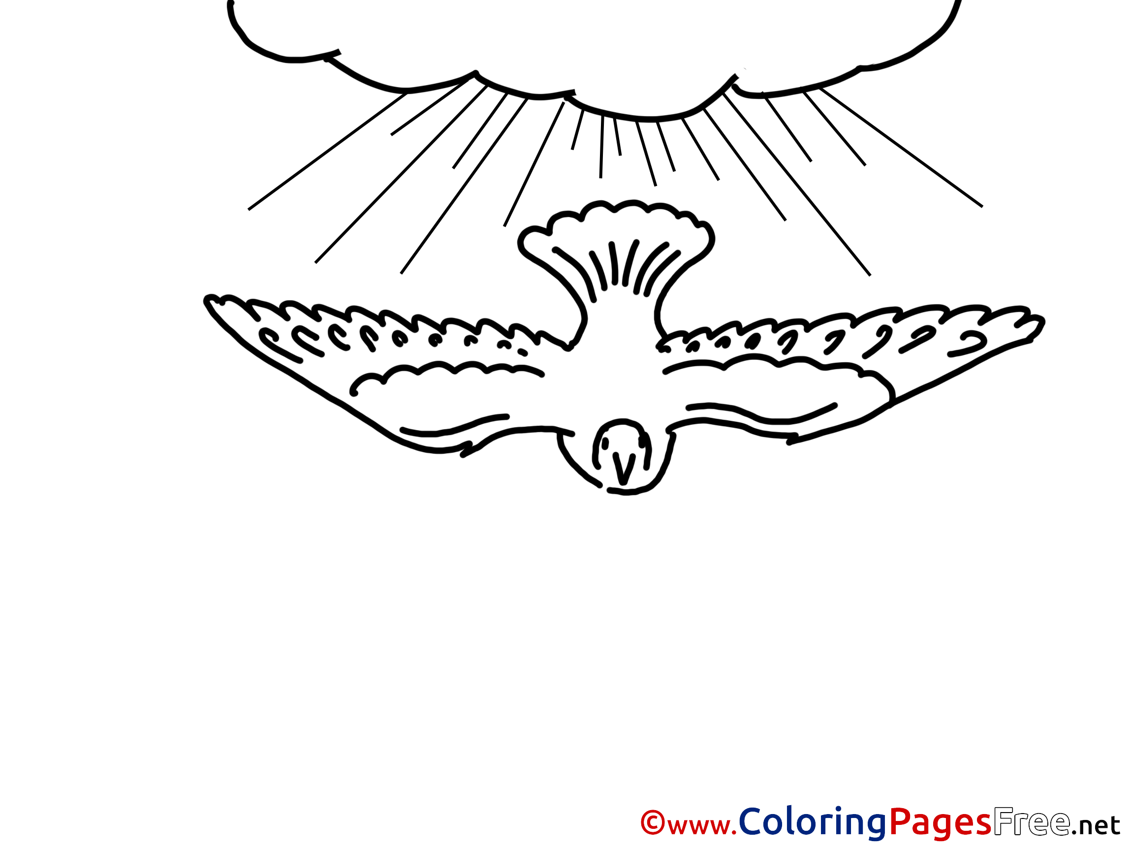 Printable Coloring Pages Sun Pigeon Pentecost
