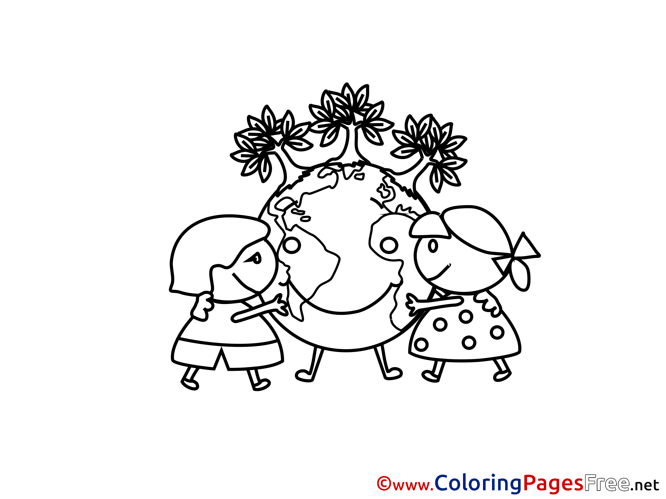 Earth Planet Kids Free Coloring Page
