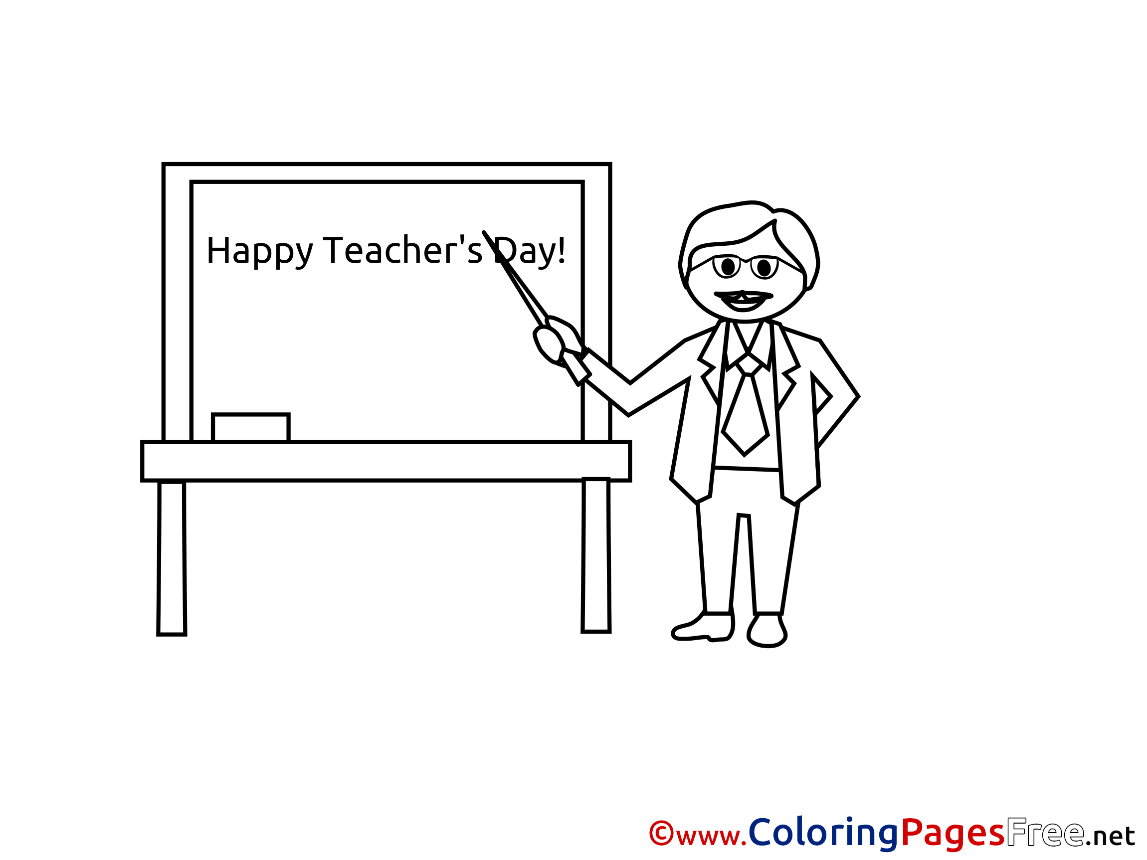 Holiday Happy Teacher\'s Day Coloring Sheets download free