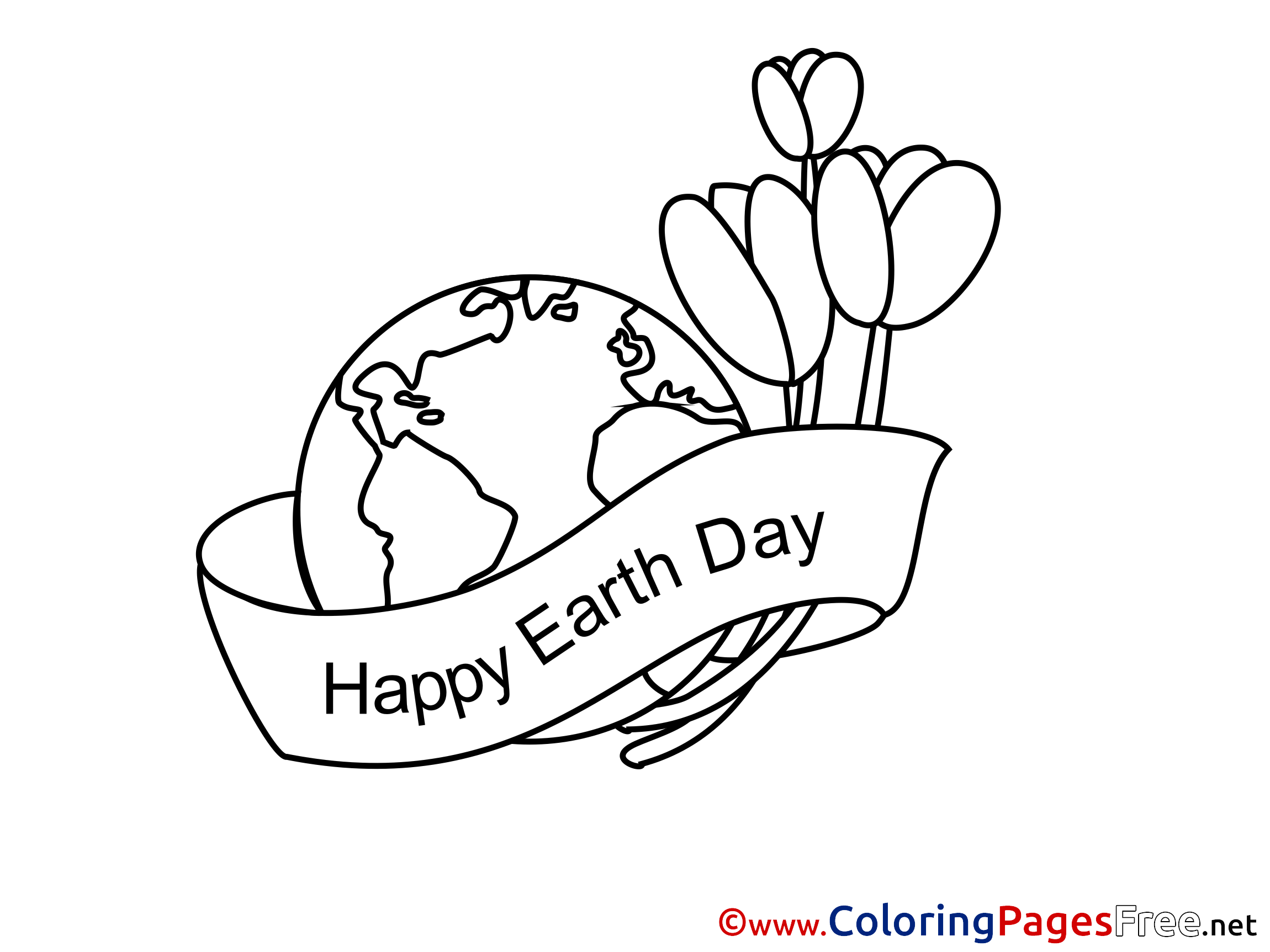 - Tulips Happy Earth Day Colouring Page Printable Free