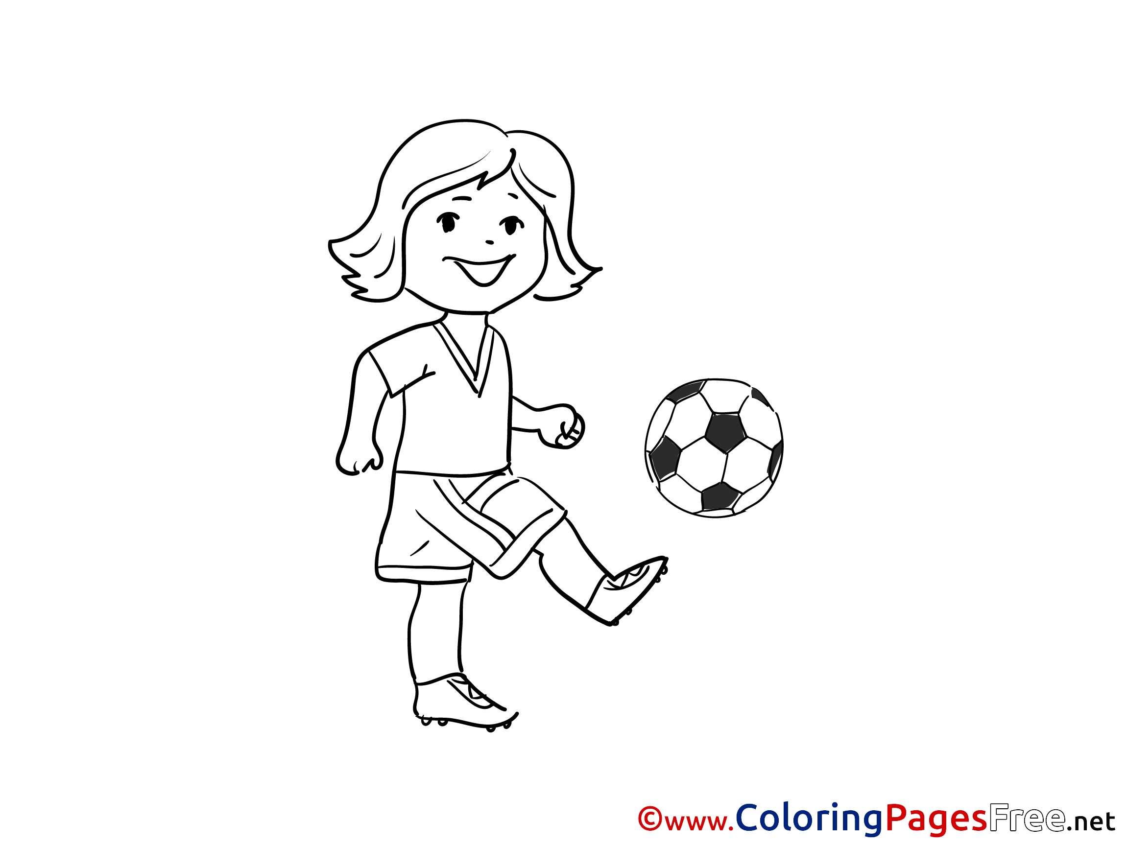 - Trick Football Girl Soccer Coloring Pages Free