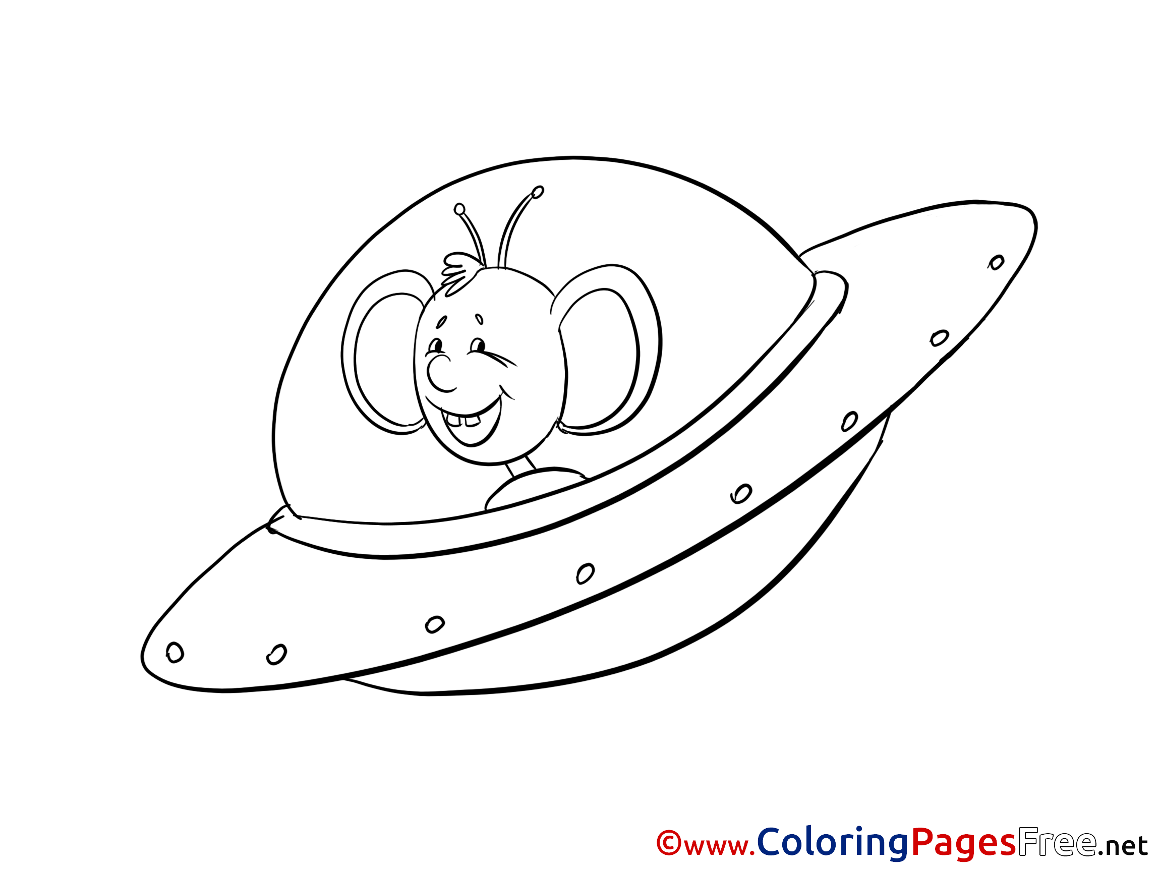 Flying Saucer Children Coloring Pages Free